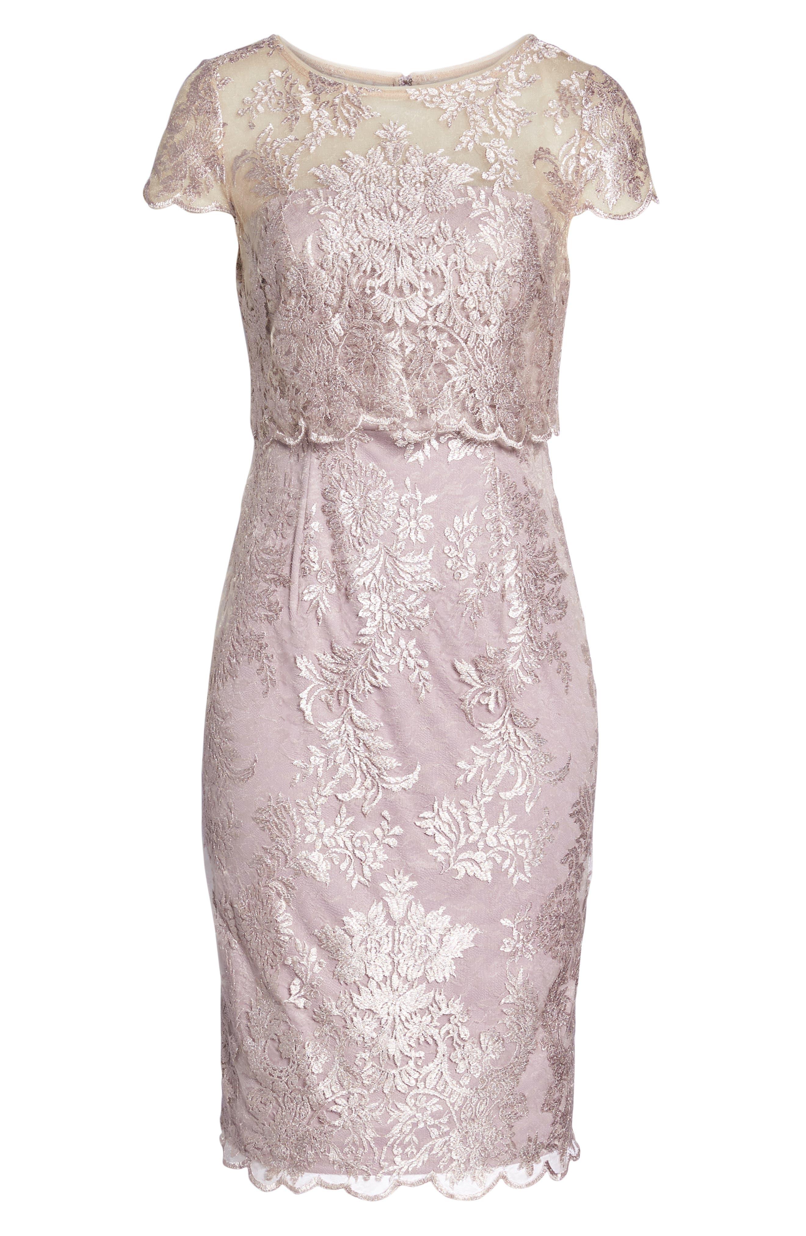 Scallop Edge Popover Sheath Dress,                             Alternate thumbnail 6, color,                             Lily Rose
