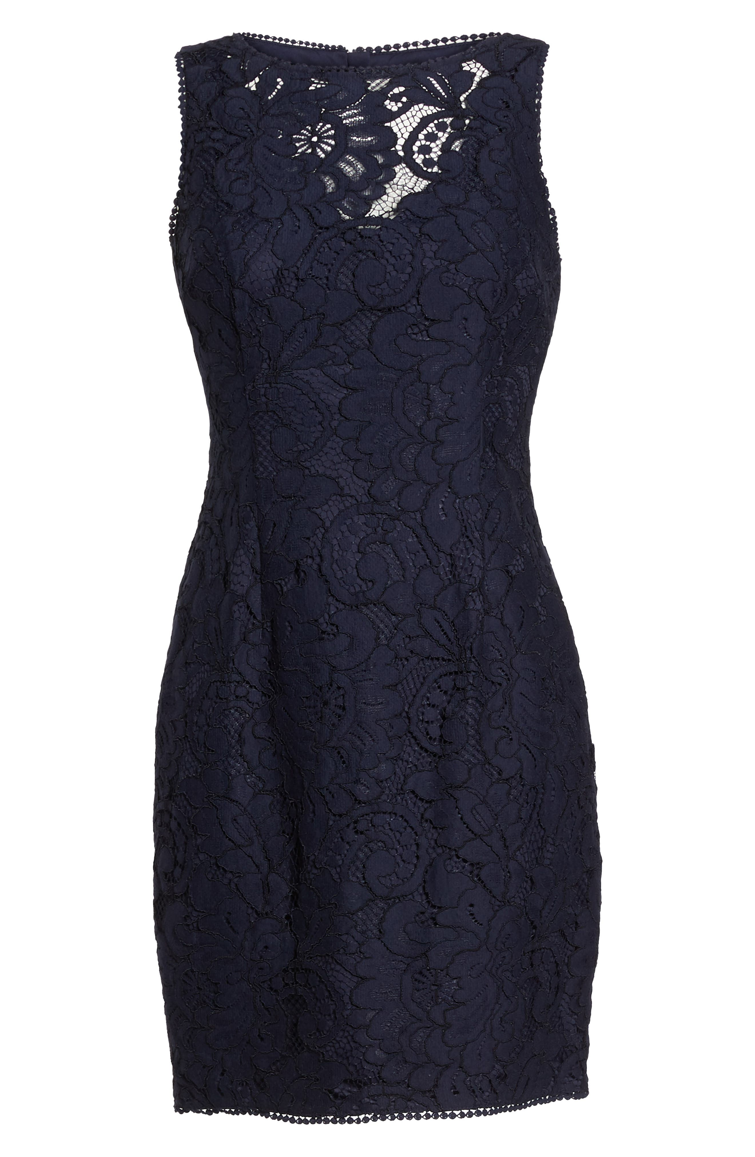 Lace Sheath Dress,                             Alternate thumbnail 7, color,                             Navy