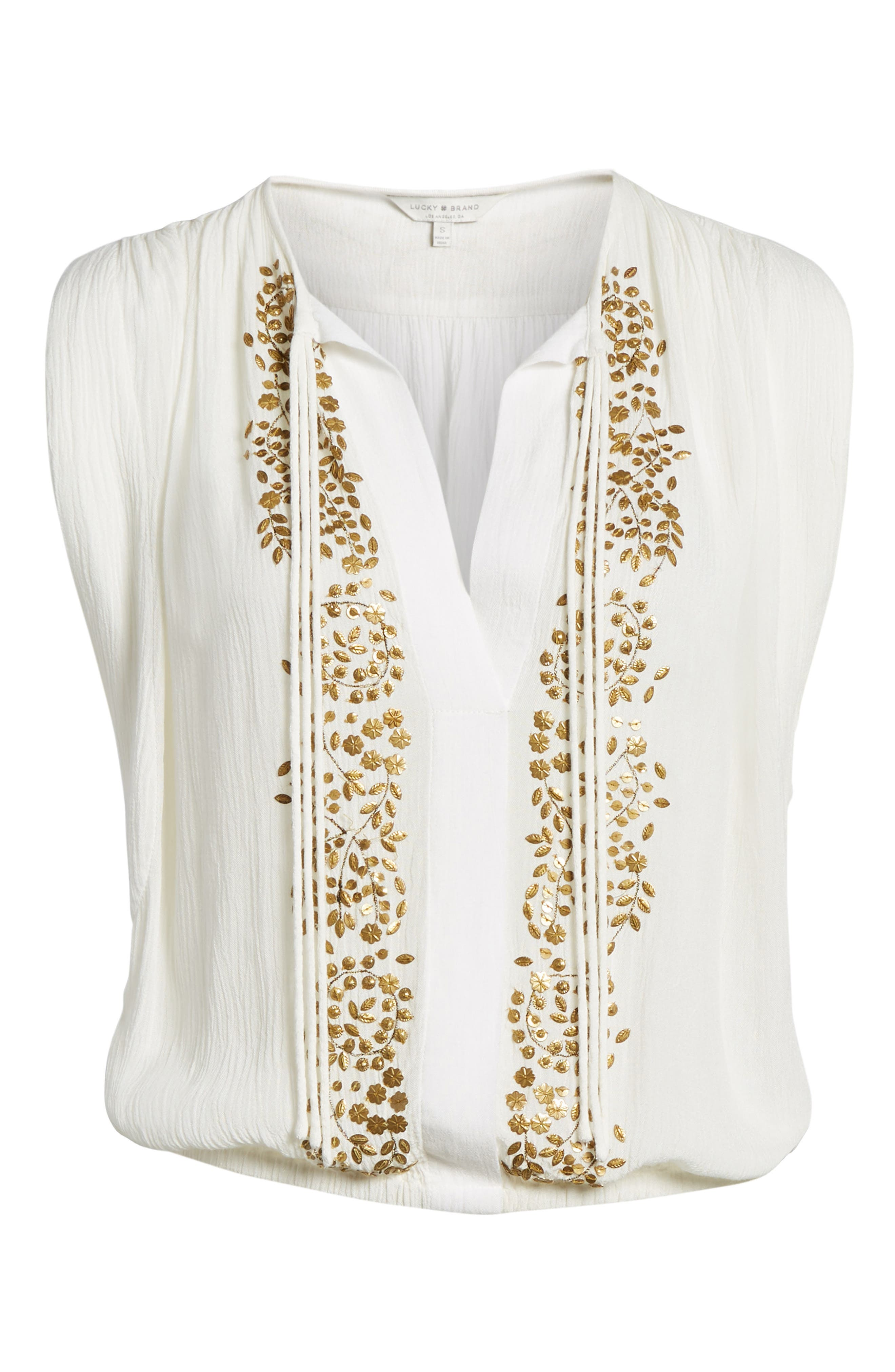 Helena Embellished Top,                             Alternate thumbnail 7, color,                             Marshmallow
