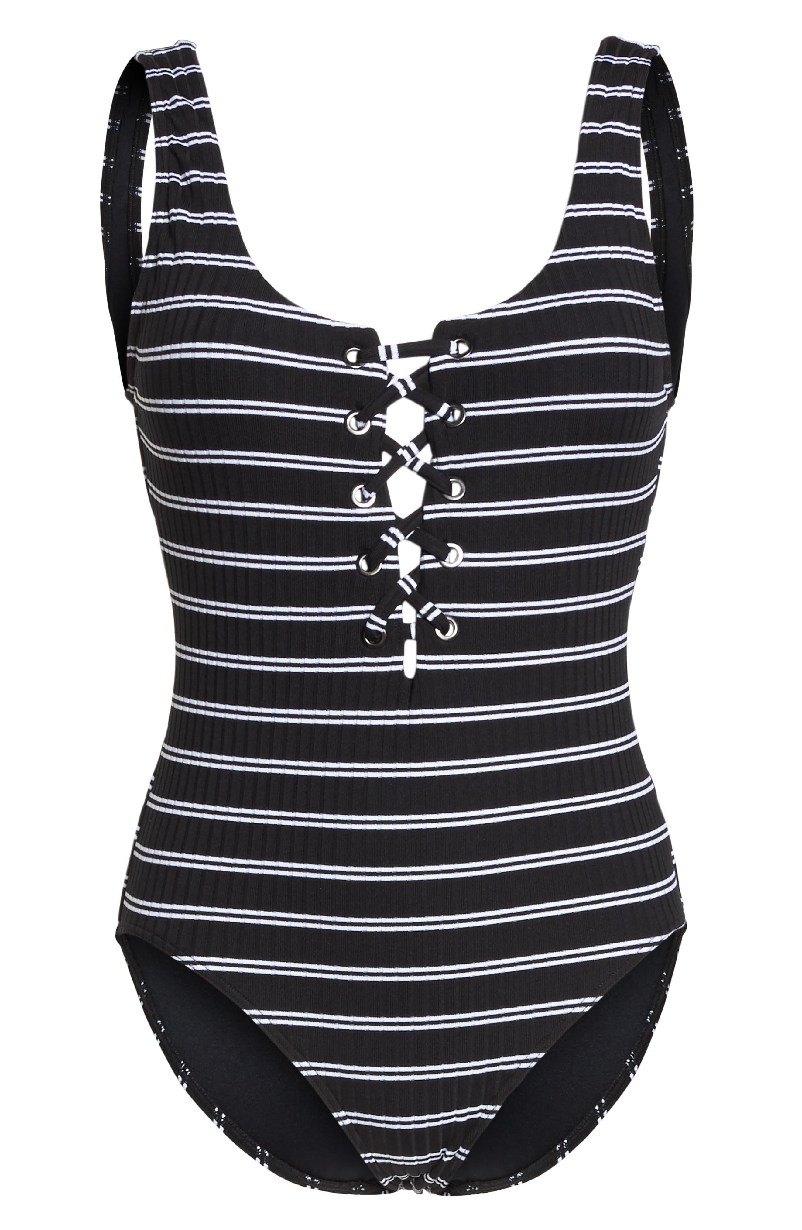 Inka Stripe Lace-Up One-Piece Swimsuit,                             Alternate thumbnail 6, color,                             Black