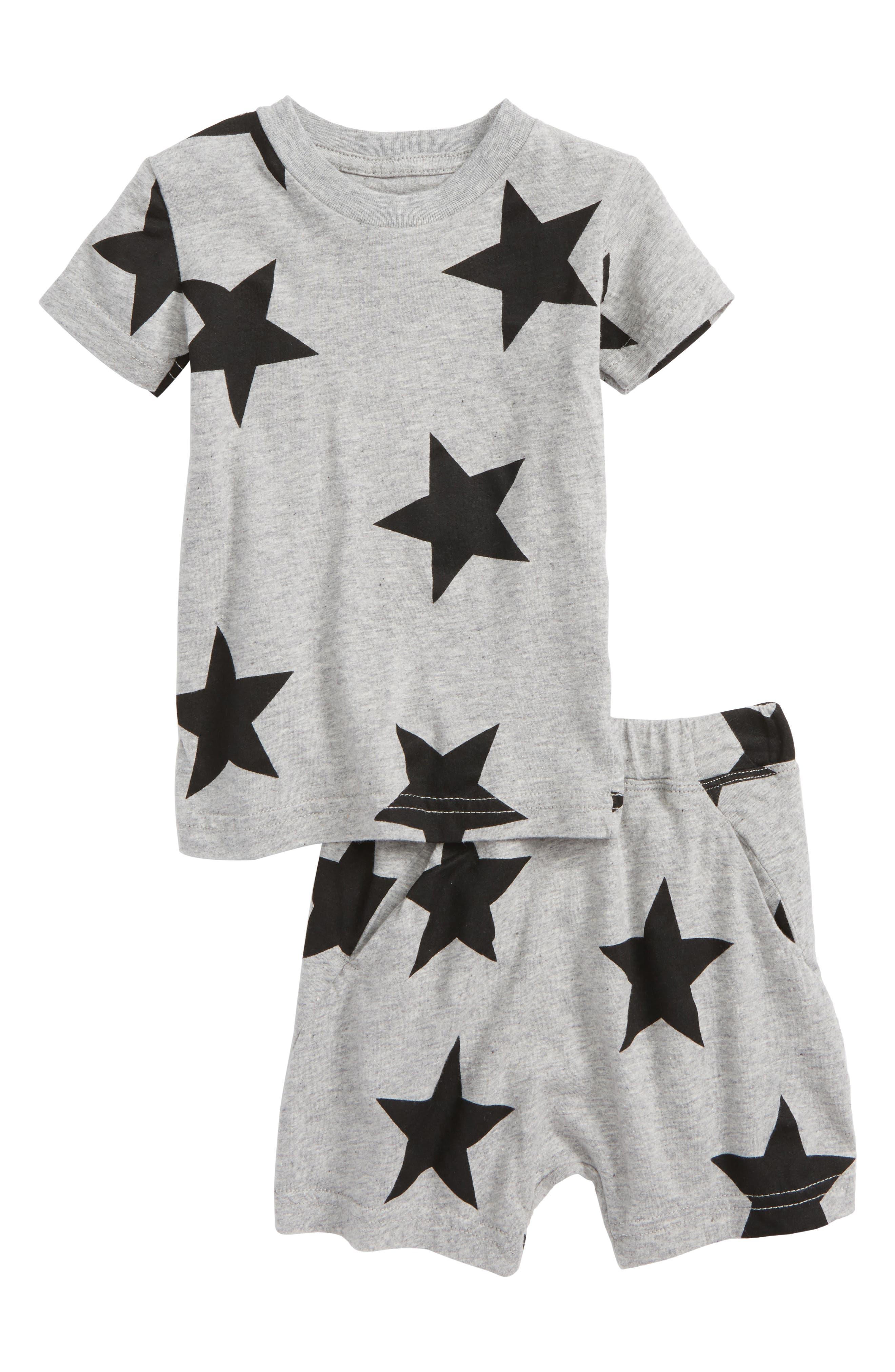 Star Print T-Shirt & Shorts Set,                         Main,                         color, Heather Grey