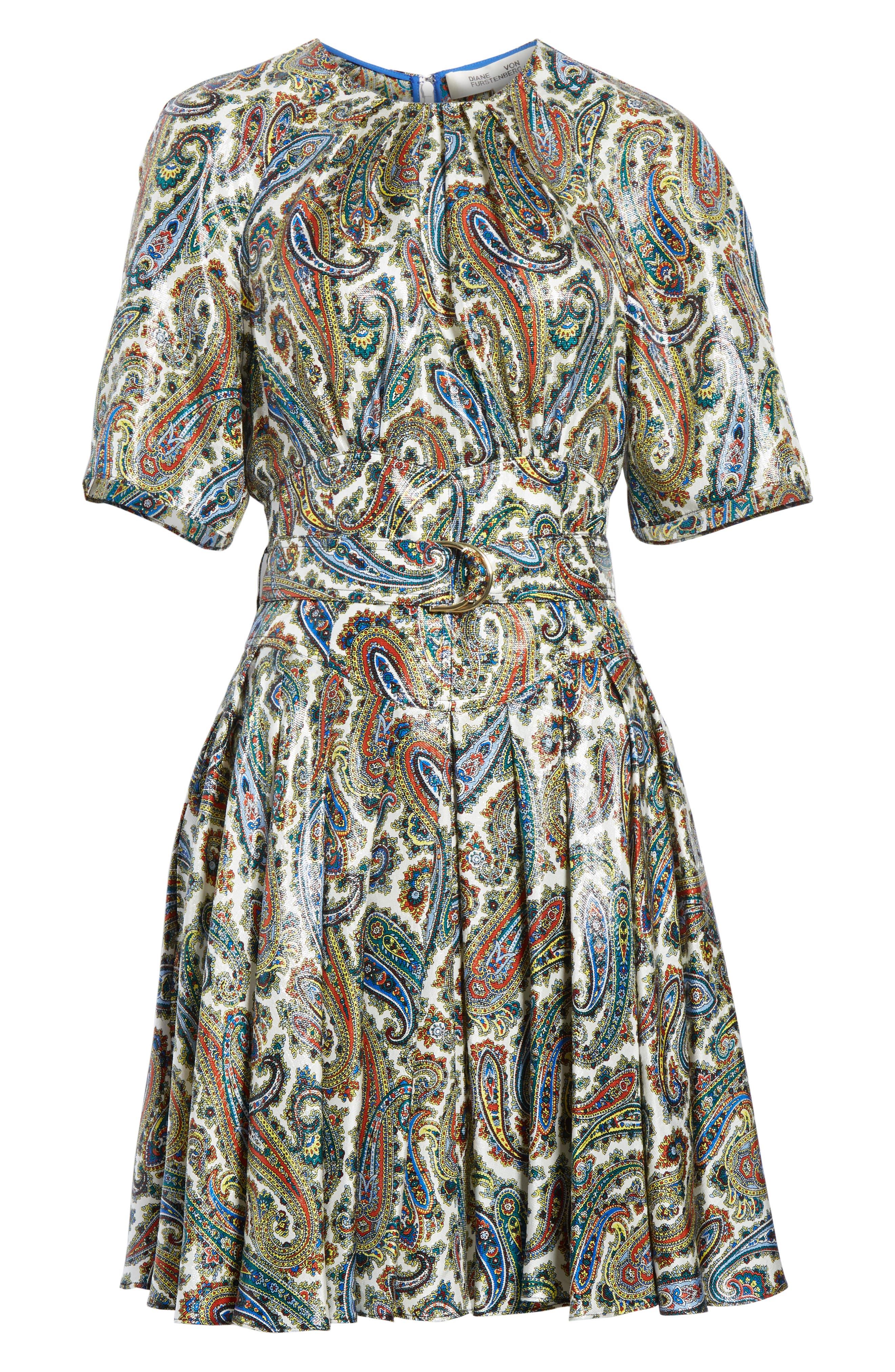 Belted Silk Blend Dress,                             Alternate thumbnail 6, color,                             Barton Logo Ivory