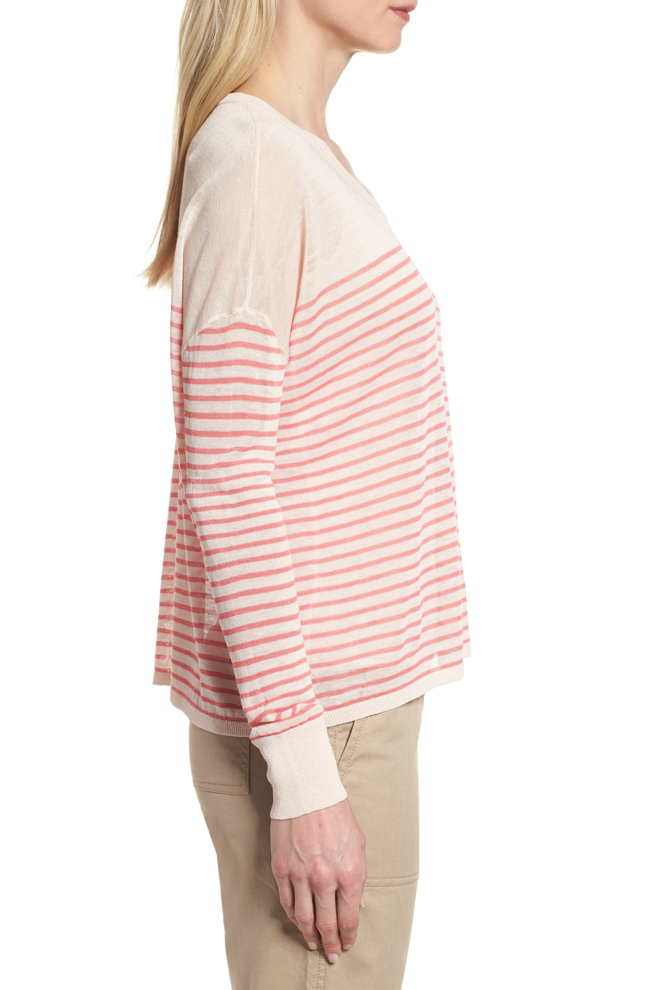 Stripe Linen Blend Sweater,                             Alternate thumbnail 3, color,                             Pink Peony- Coral Rose Stripe