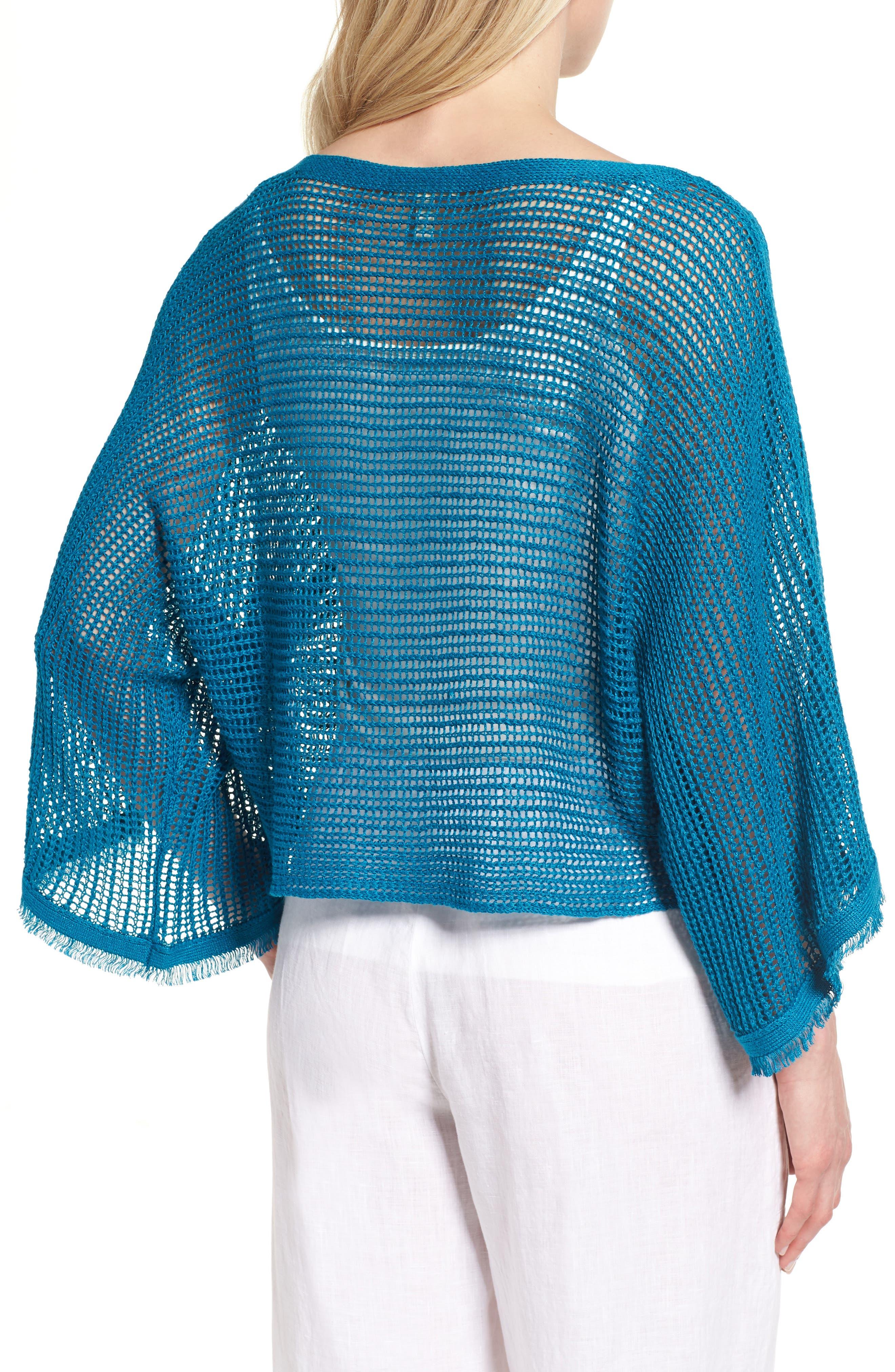 Organic Linen Short Sweater,                             Alternate thumbnail 2, color,                             Jewel