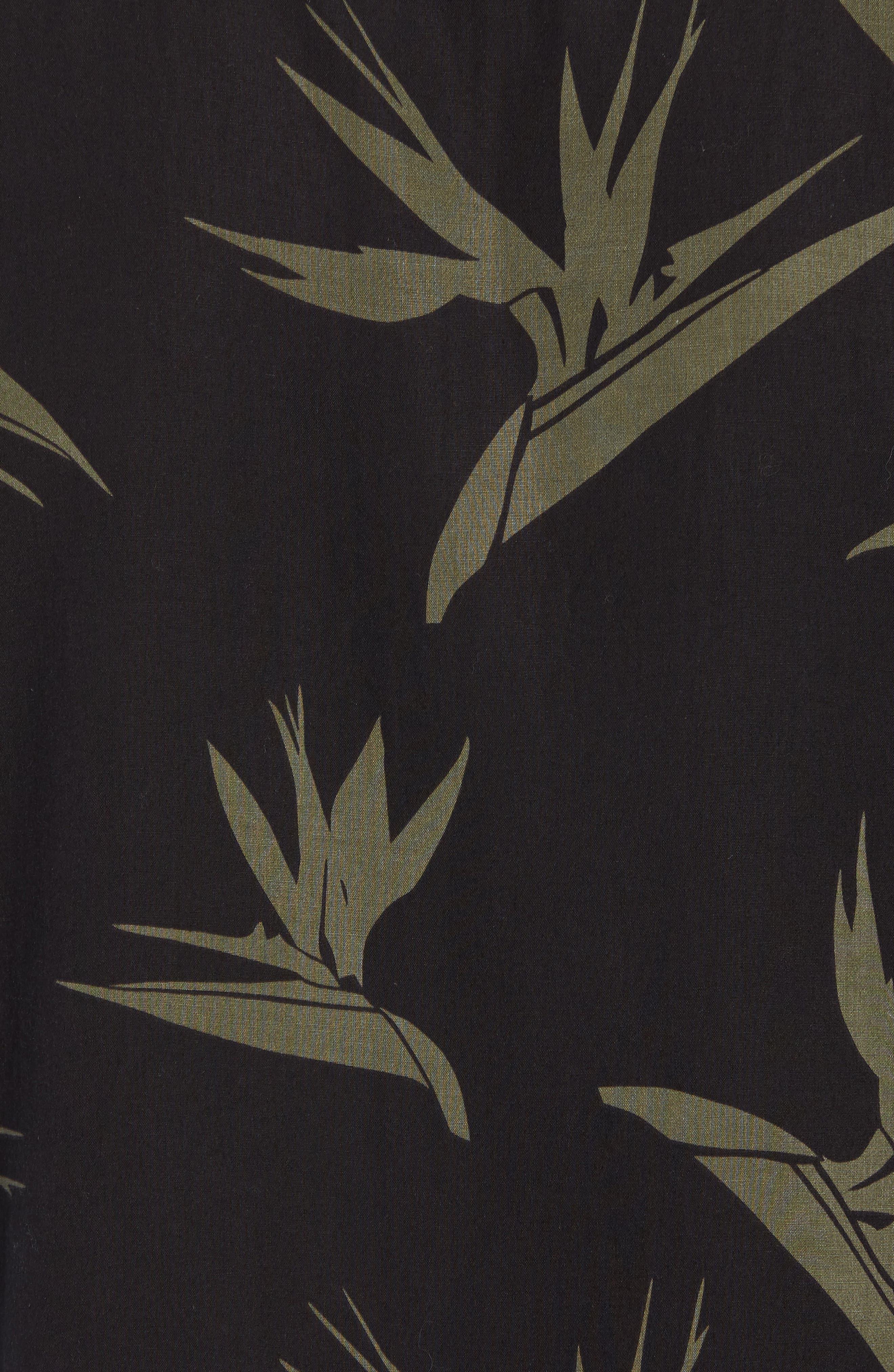 Hudson Regular Fit Print Short Sleeve Sport Shirt,                             Alternate thumbnail 5, color,                             Birds Of Paradise Black