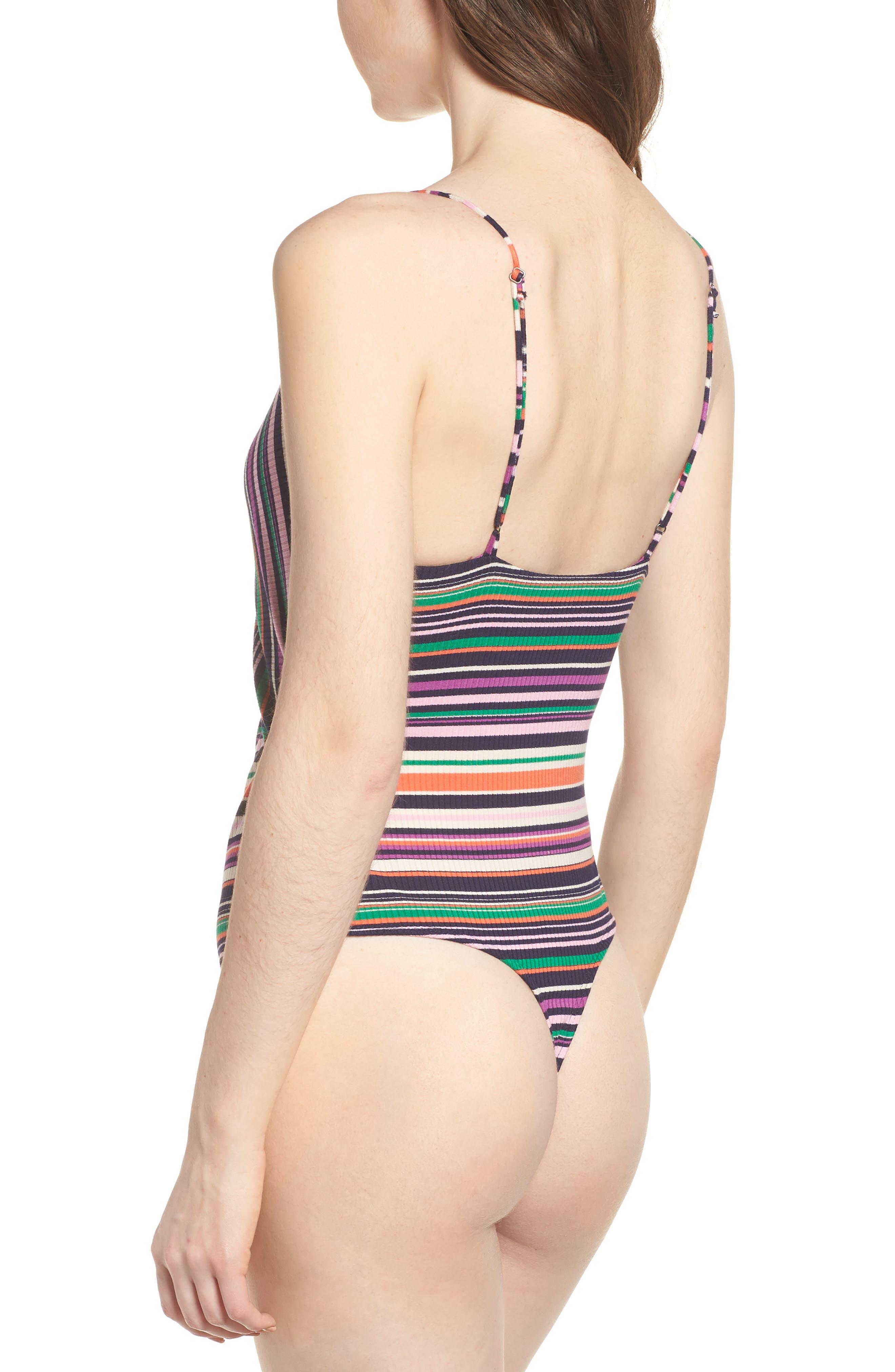 Brooks Cutout Thong Bodysuit,                             Alternate thumbnail 3, color,                             Multi Stripe