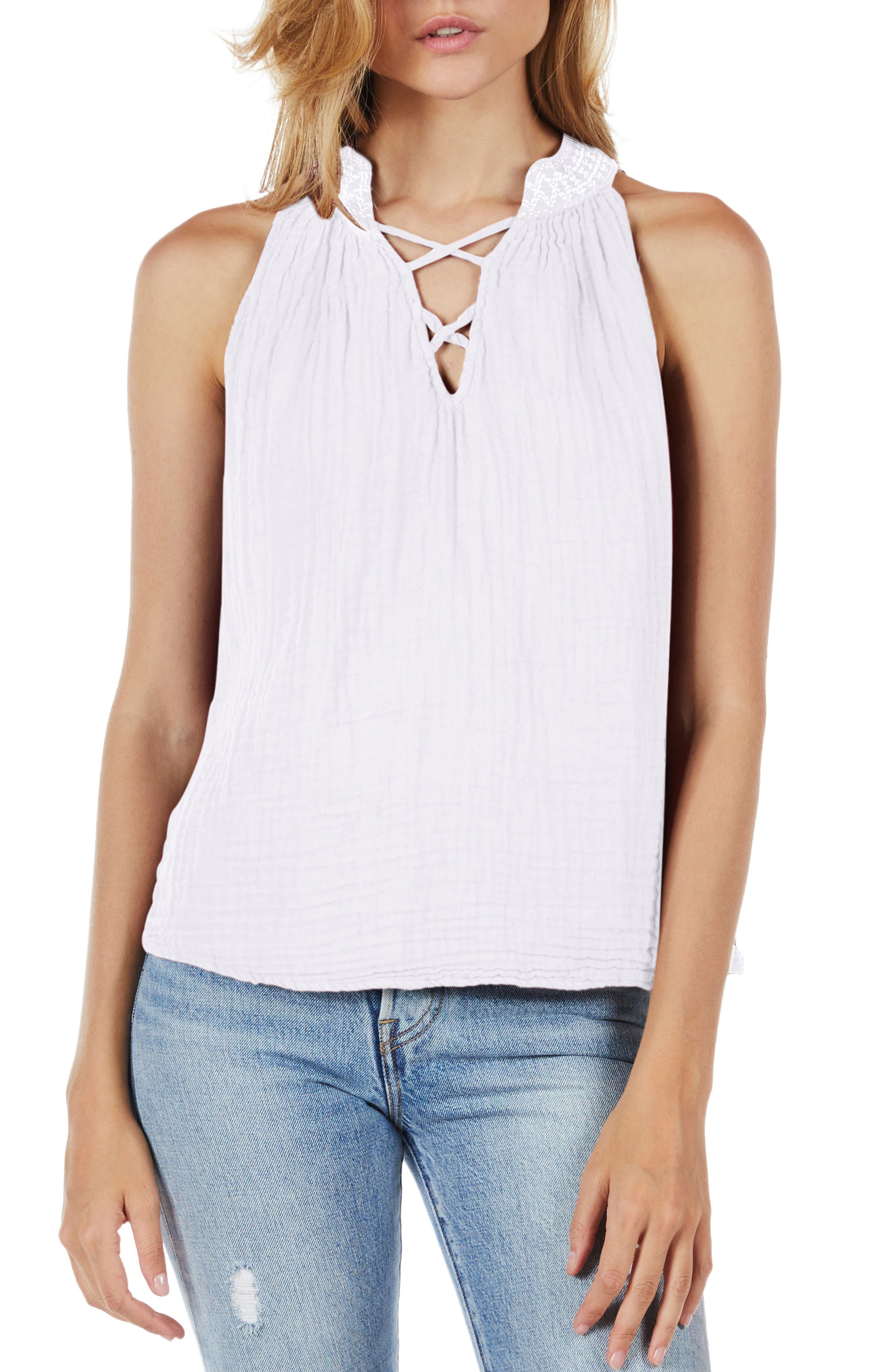 Embroidered Neck Tank,                             Main thumbnail 1, color,                             White