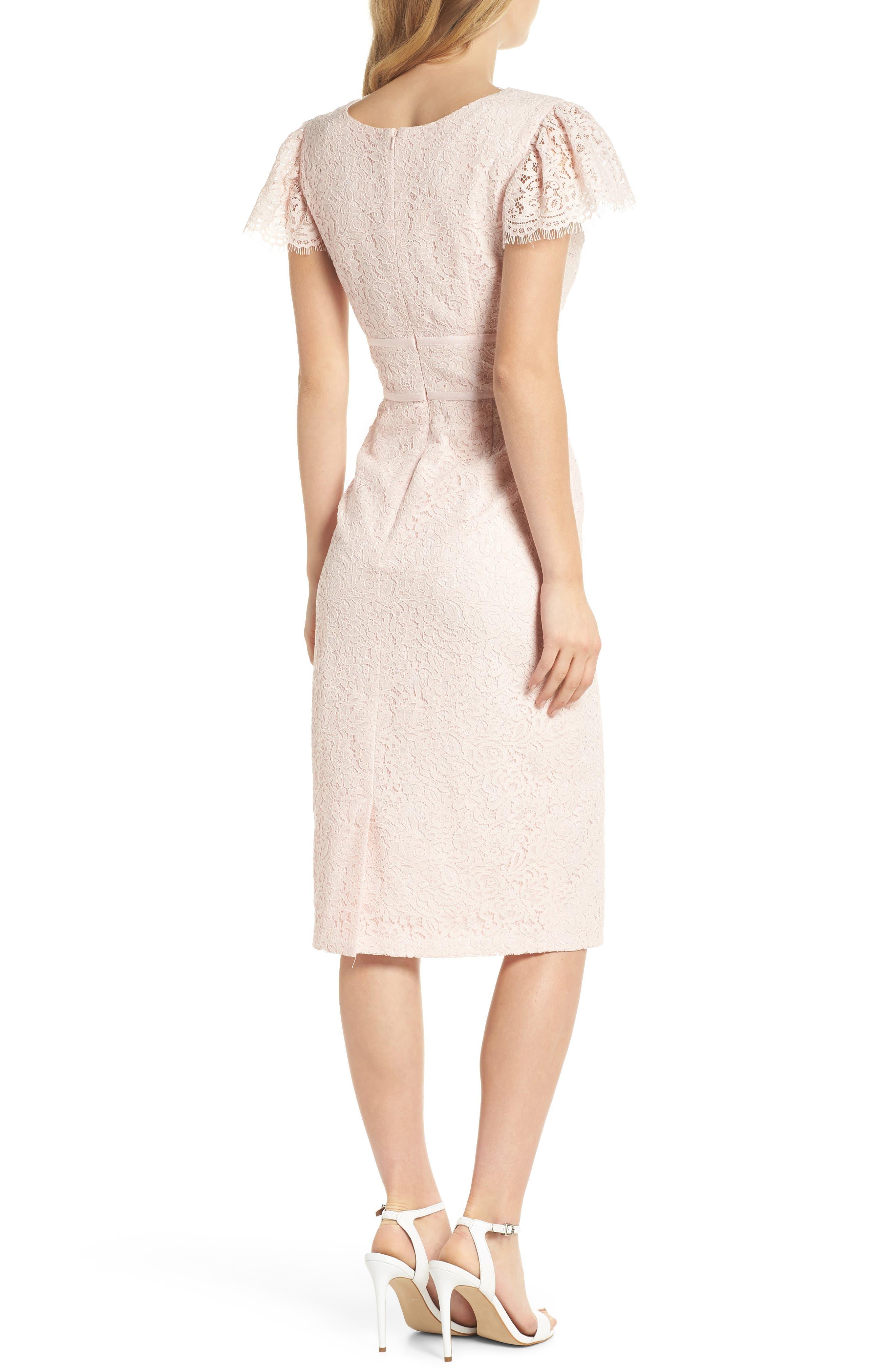 Ginger Rosebud Lace Sheath Dress,                             Alternate thumbnail 3, color,                             Blush