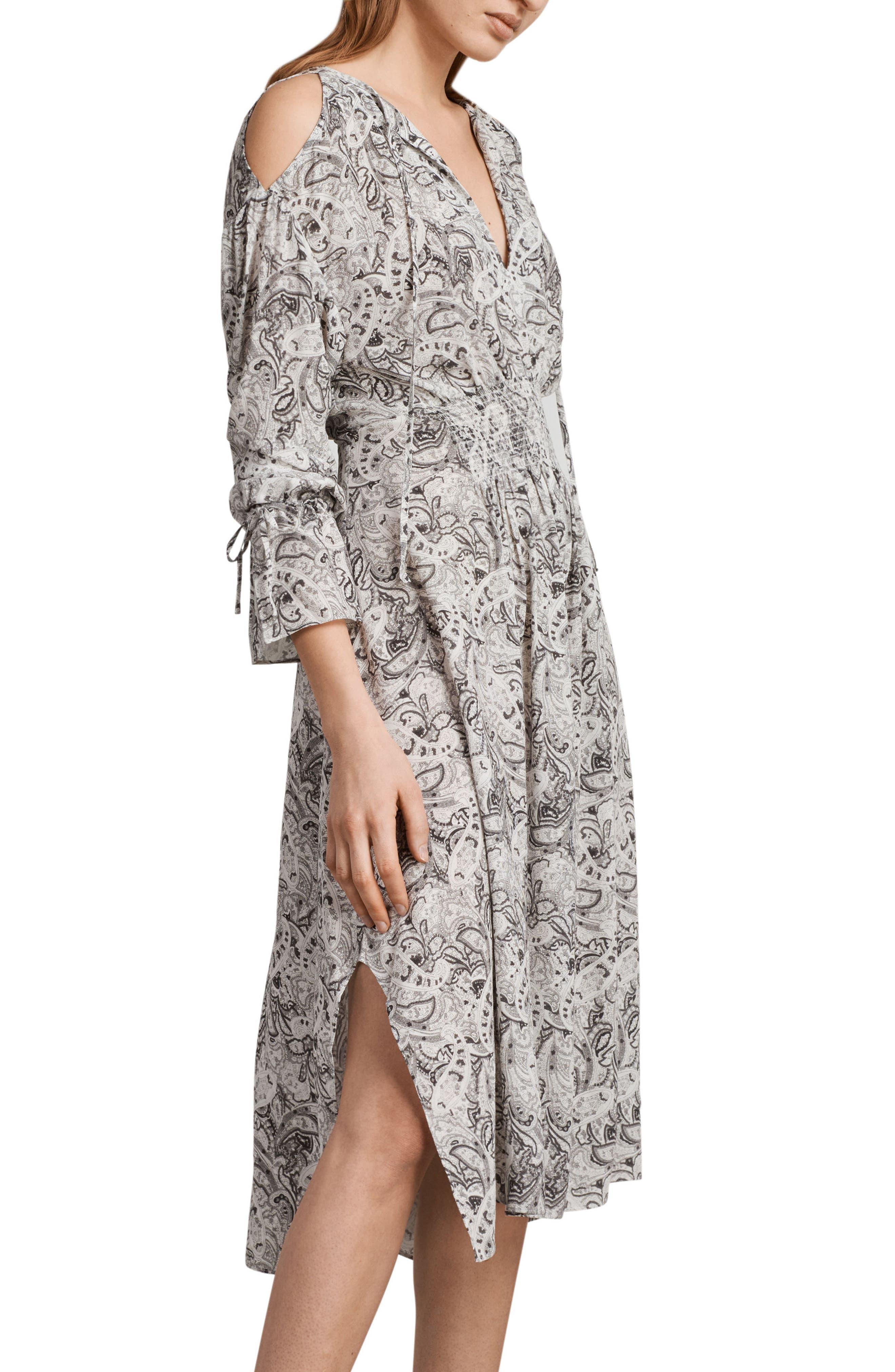 Lavete Paisley Cold Shoulder Midi Dress,                             Main thumbnail 1, color,                             White