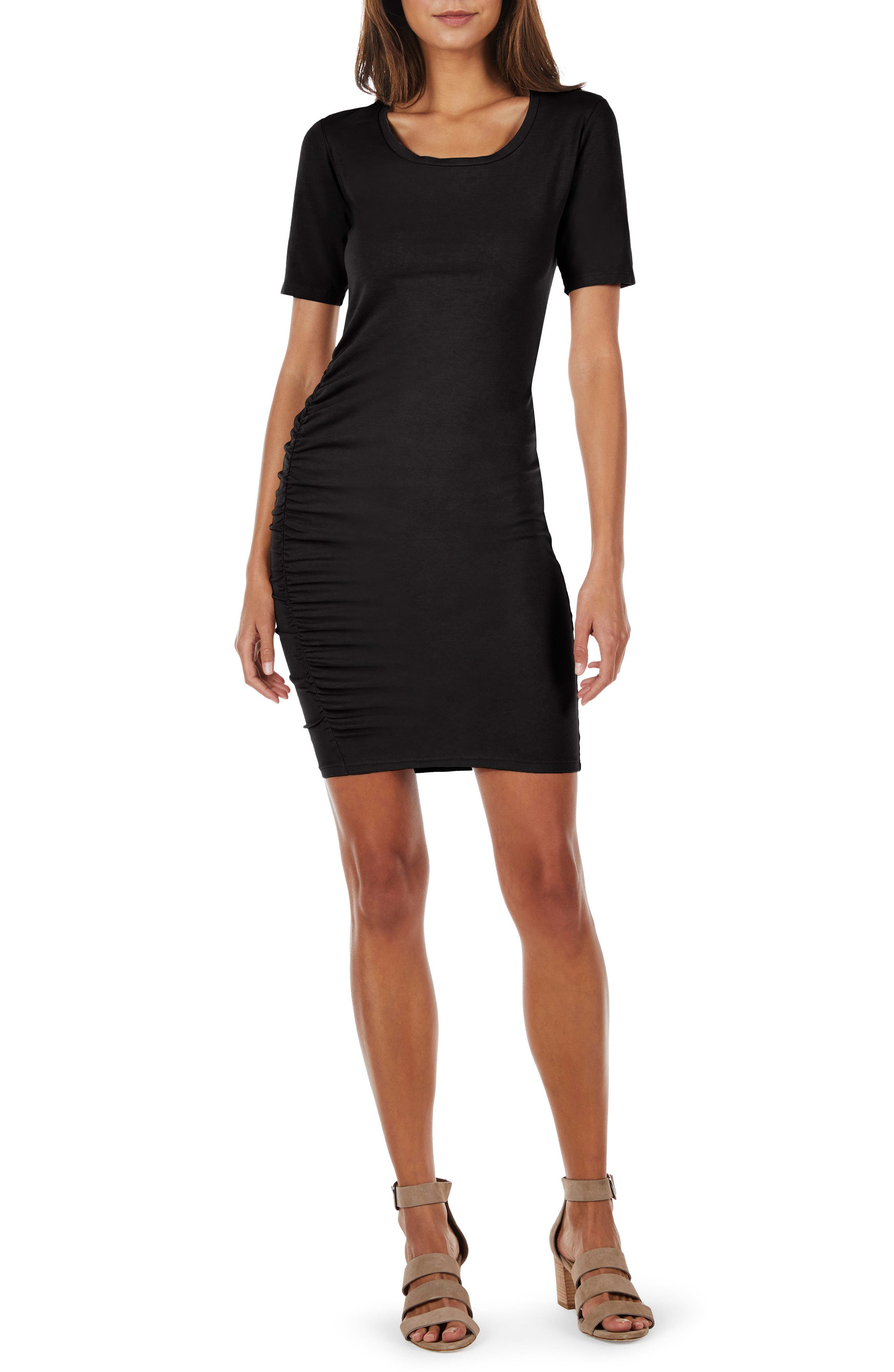 Ruched Body-Con Dress,                         Main,                         color, Black