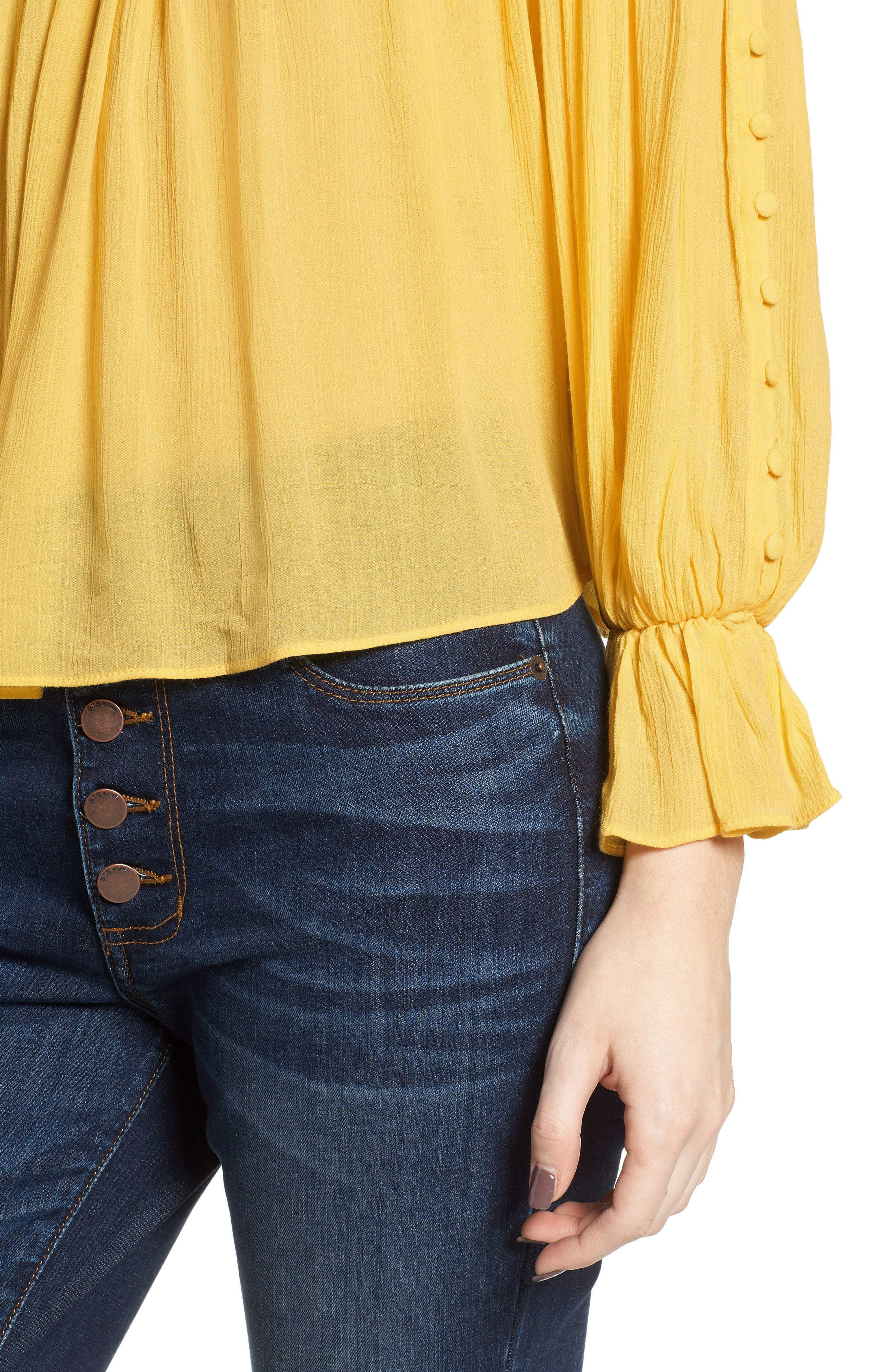 Button Sleeve Off the Shoulder Top,                             Alternate thumbnail 4, color,                             Yellow