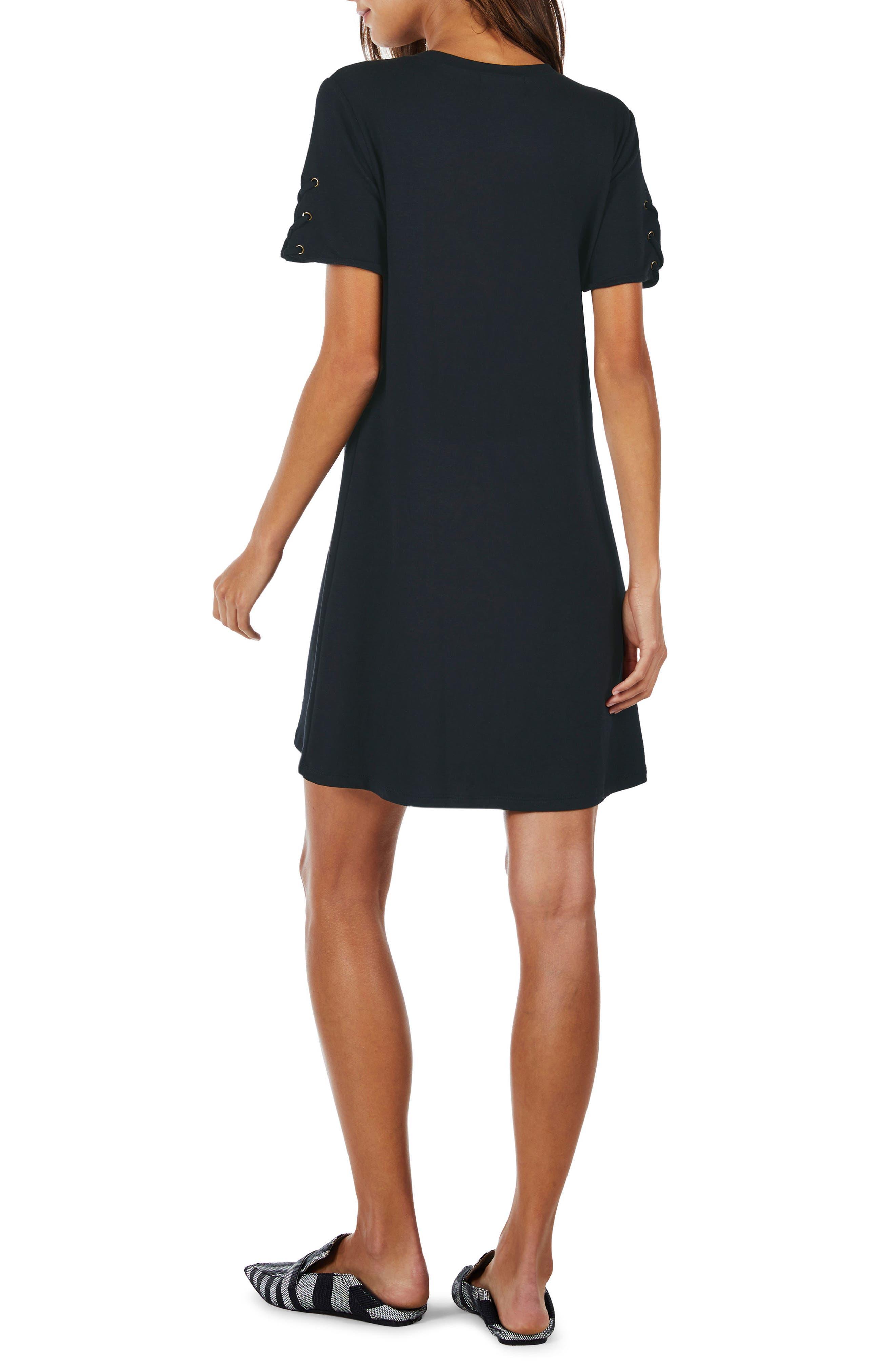Lace-Up Sleeve Dress,                             Alternate thumbnail 2, color,                             Indigo