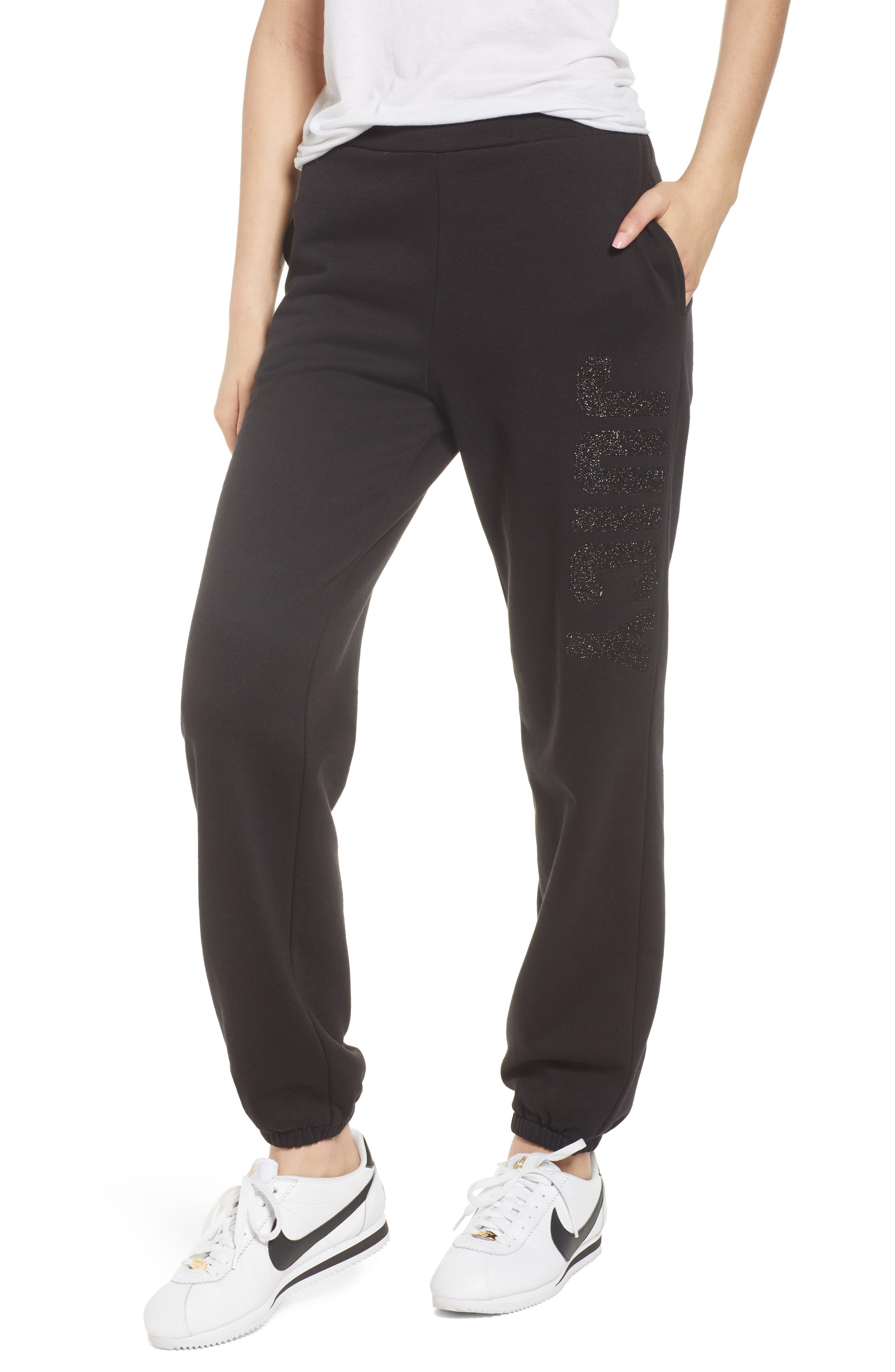 Juicy Couture Glitter Logo Embellished Fleece Pants