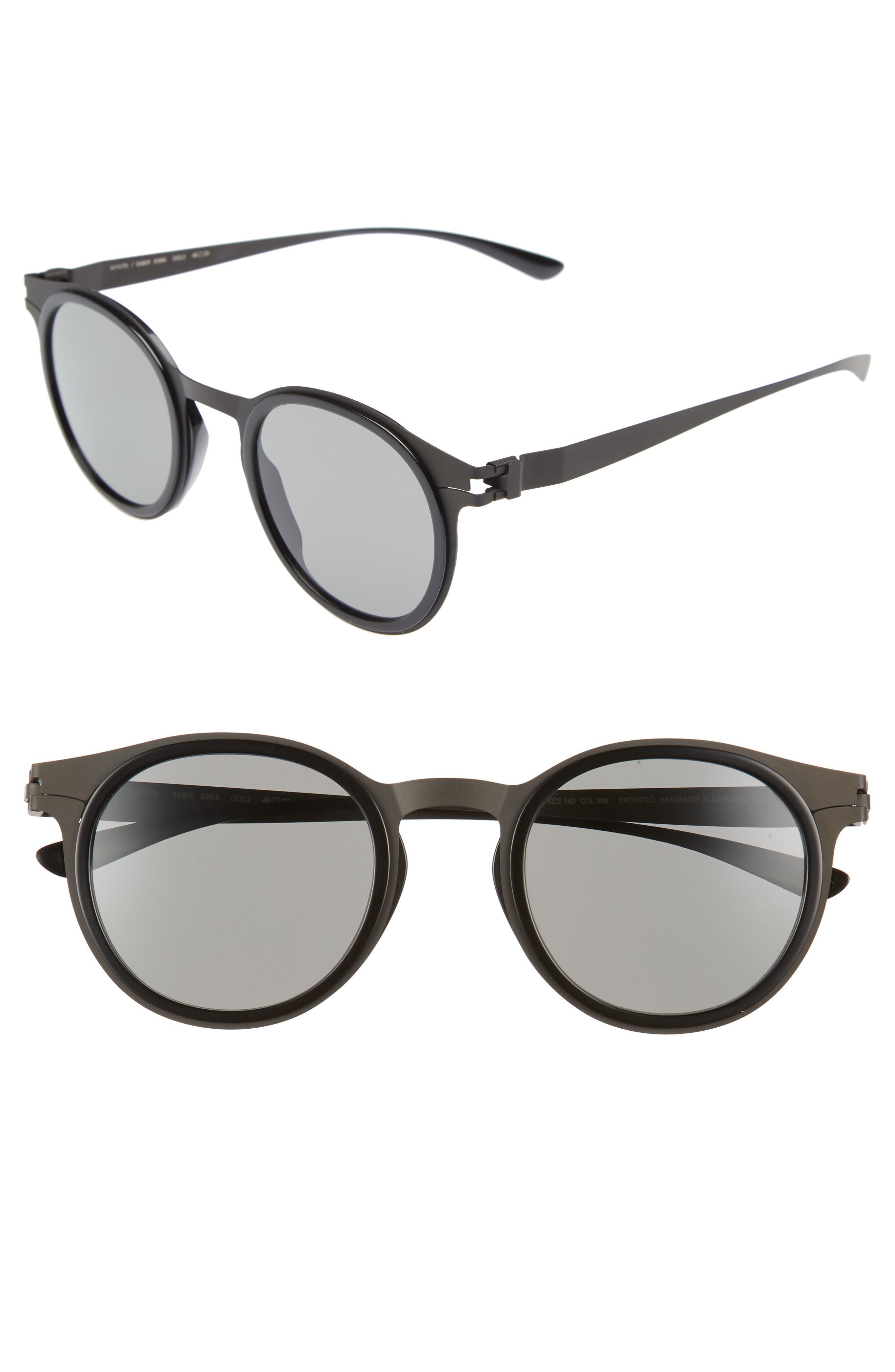 DD2.2 48mm Round Sunglasses,                         Main,                         color, Black/ Black