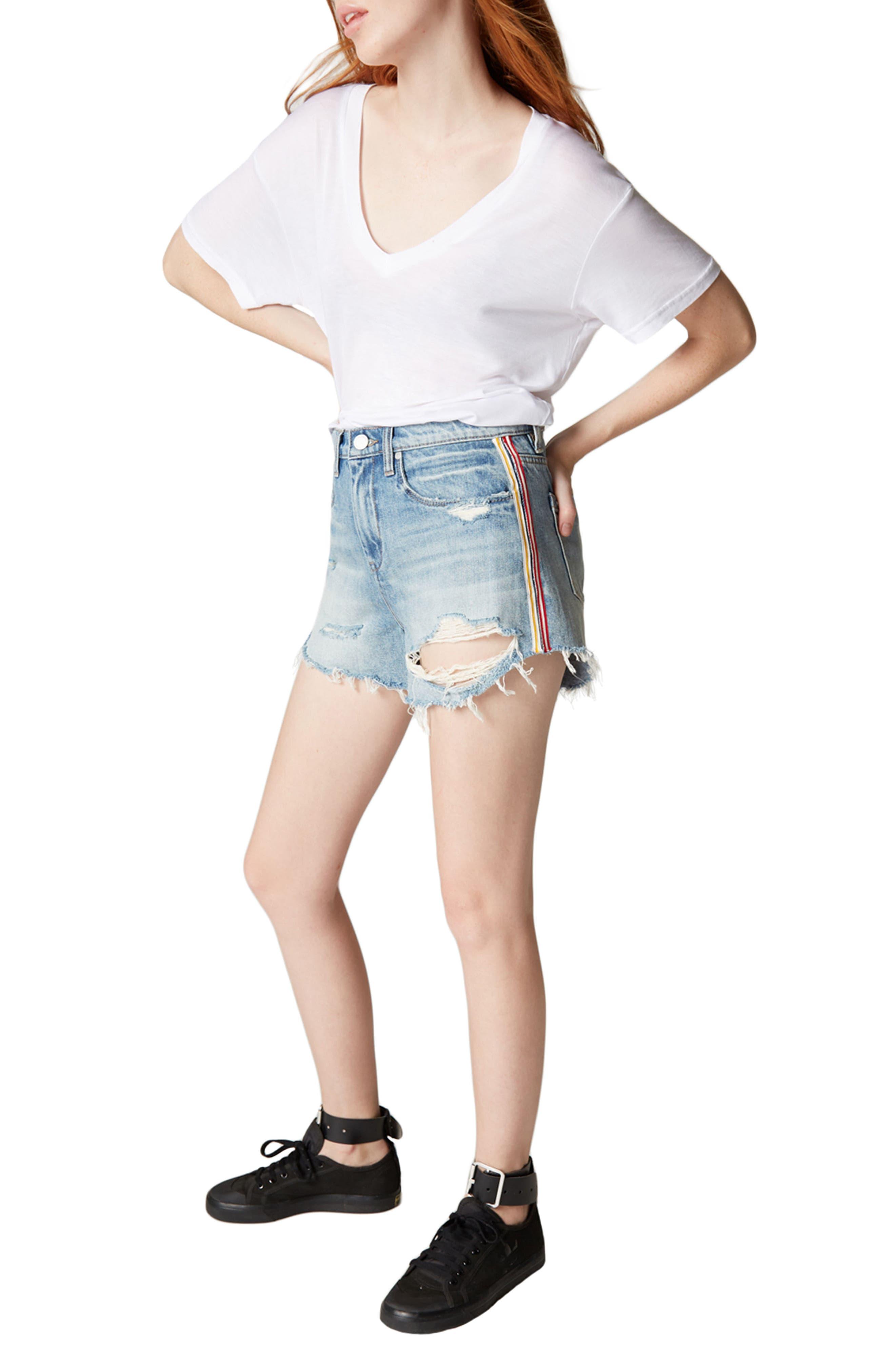 Now or Never Side Stripe Distressed Denim Shorts,                             Alternate thumbnail 2, color,                             Blue