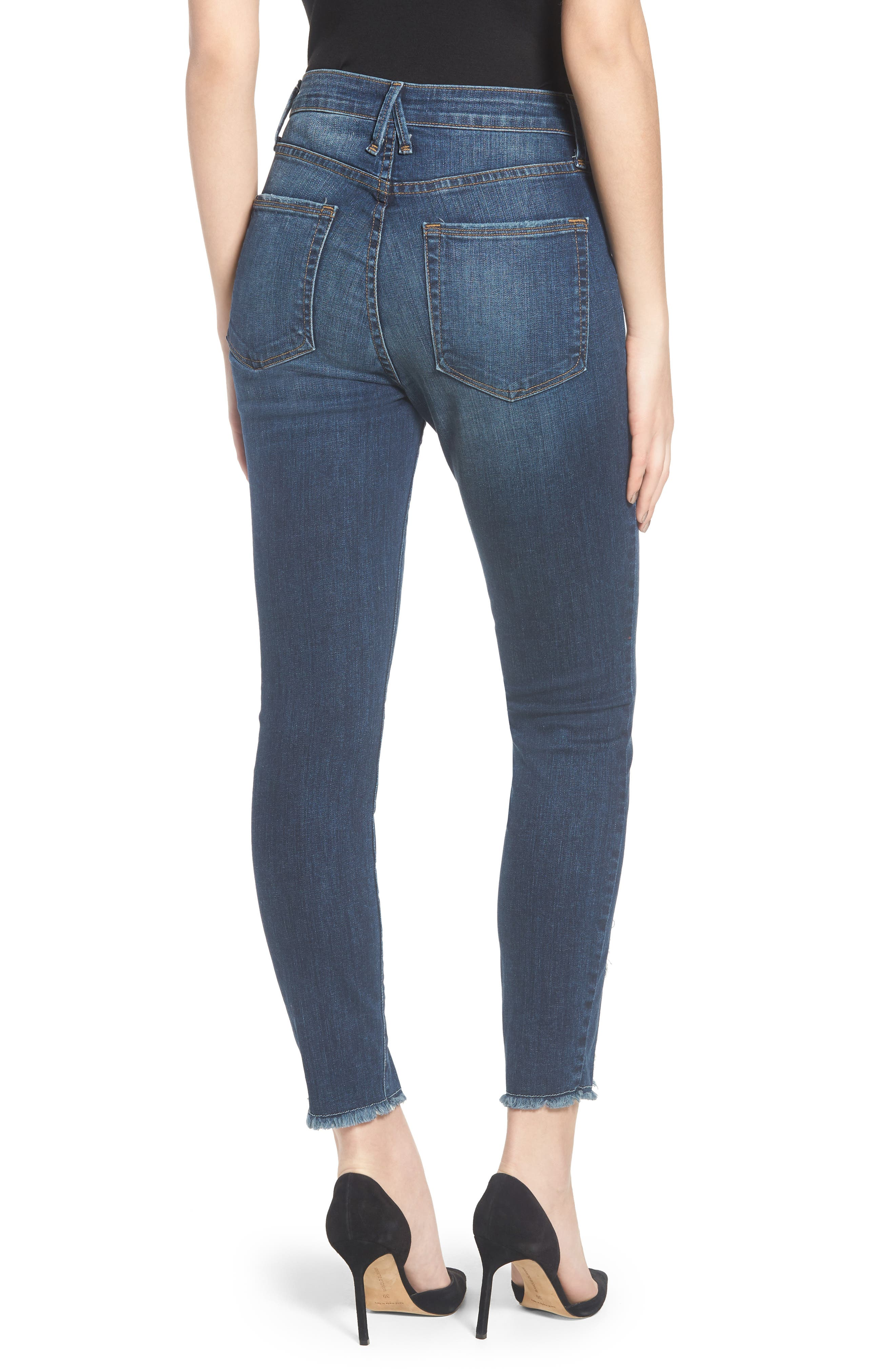 Good Jeans Raw Seam Crop Skinny Jeans,                             Alternate thumbnail 2, color,                             Blue135