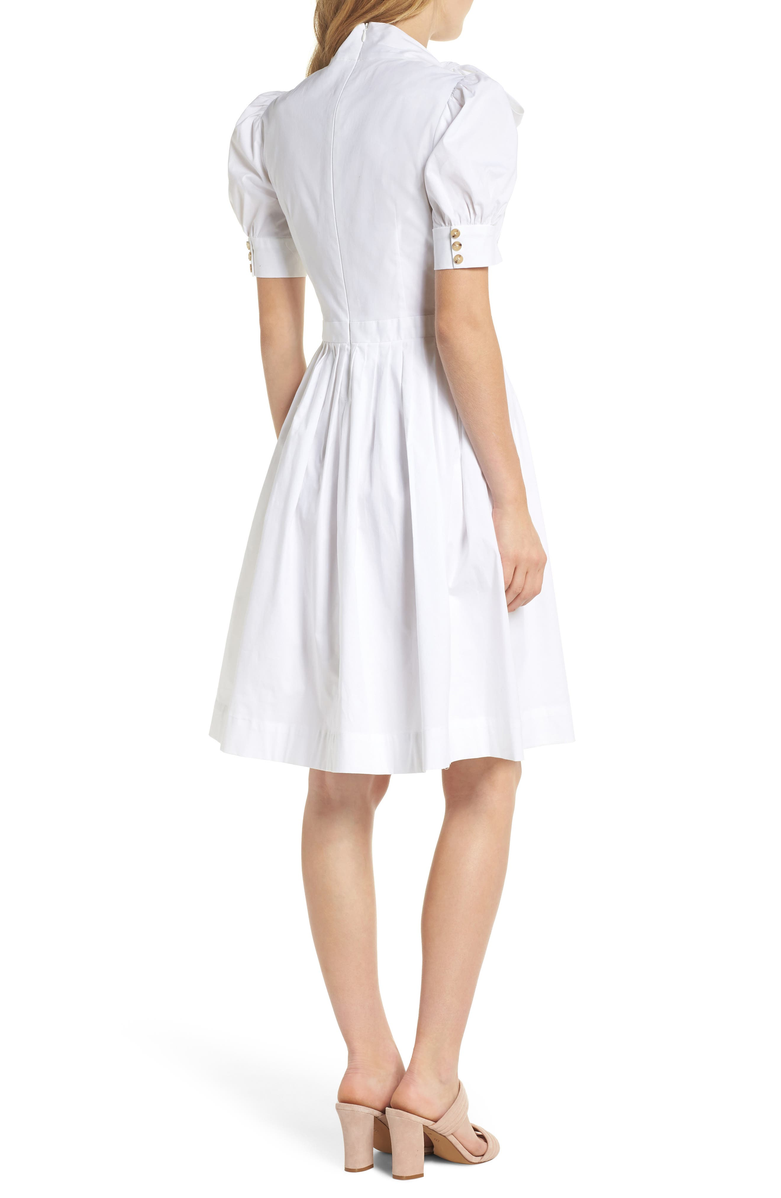 Hanna Puff Sleeve Cotton Poplin Dress,                             Alternate thumbnail 3, color,                             White