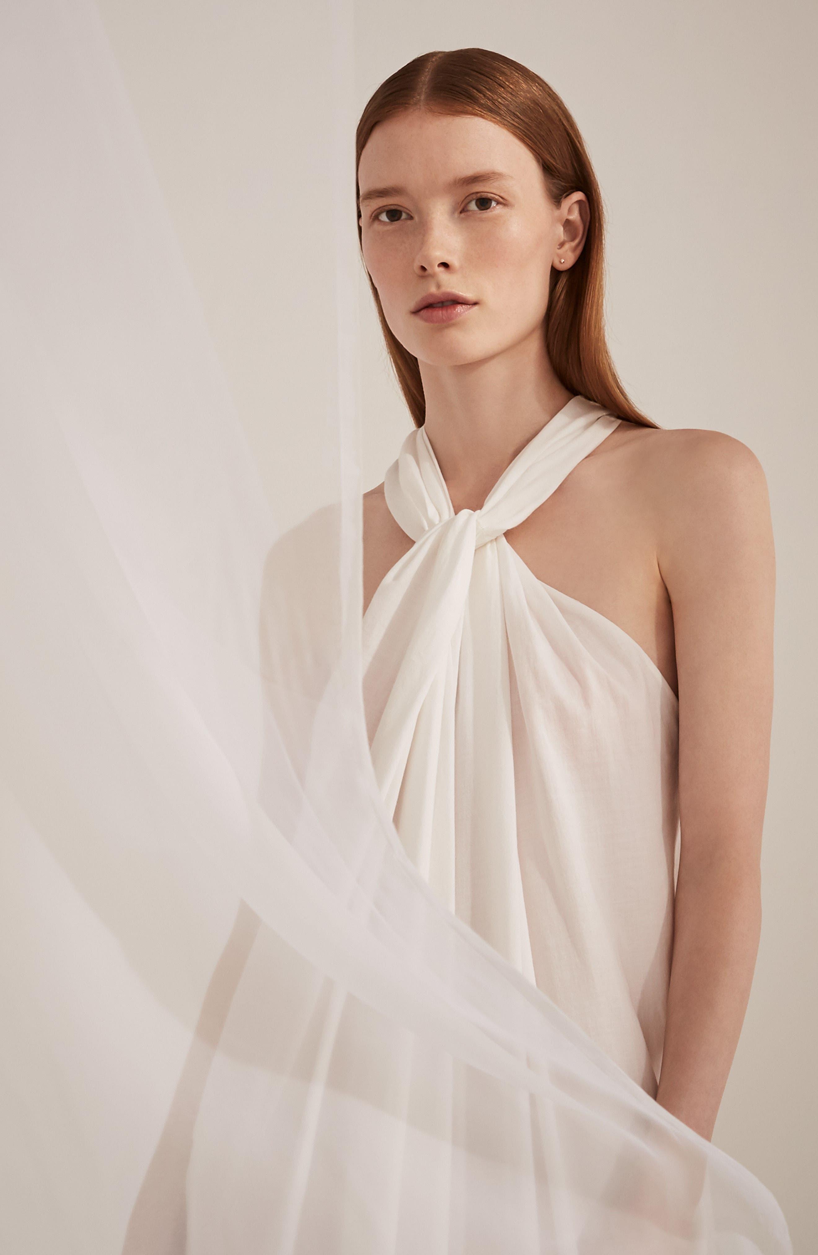 Twist Front Dress,                             Alternate thumbnail 2, color,                             Optic White
