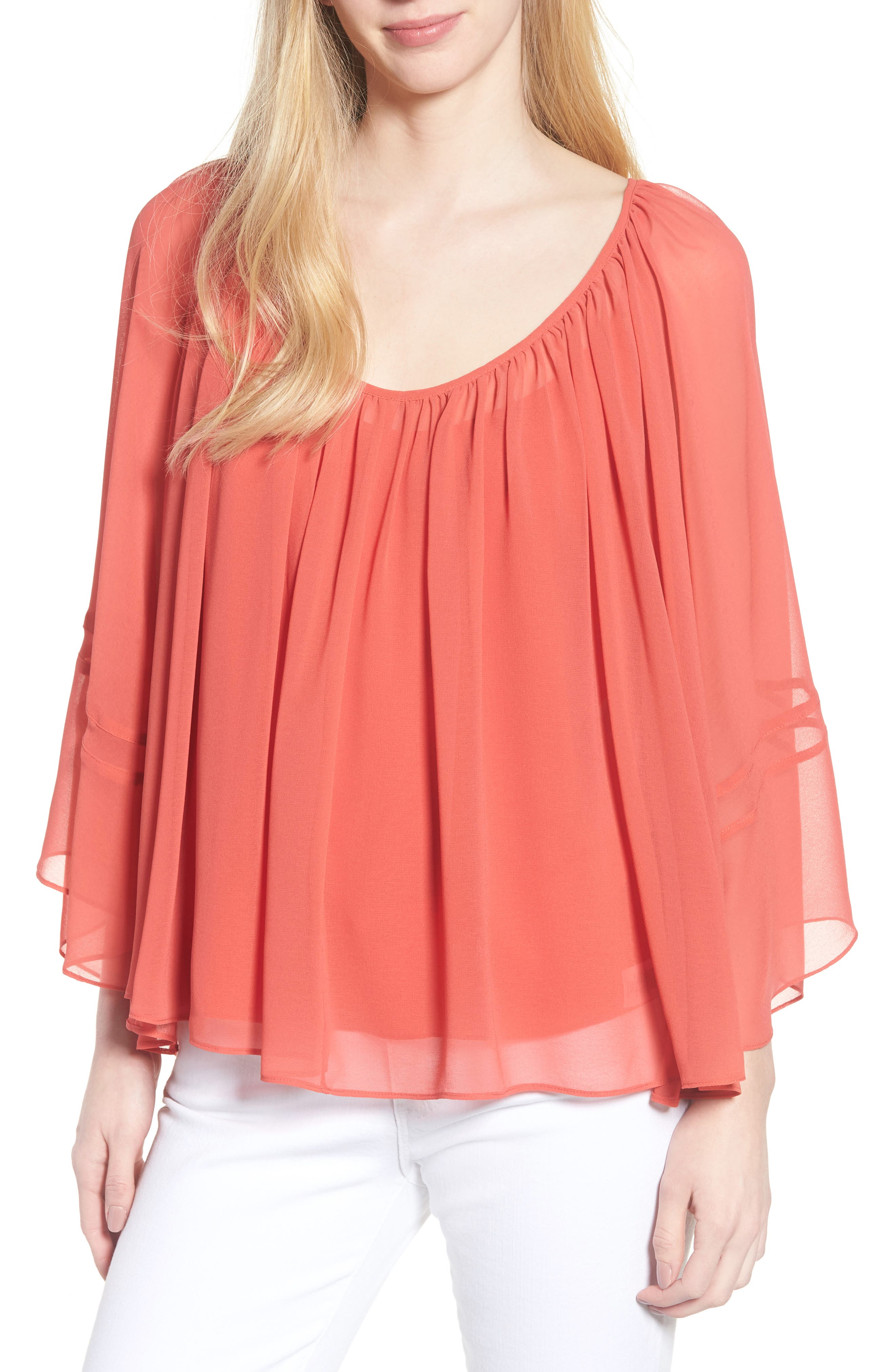 Flowy Chiffon Top,                             Main thumbnail 1, color,                             Red Cranberry