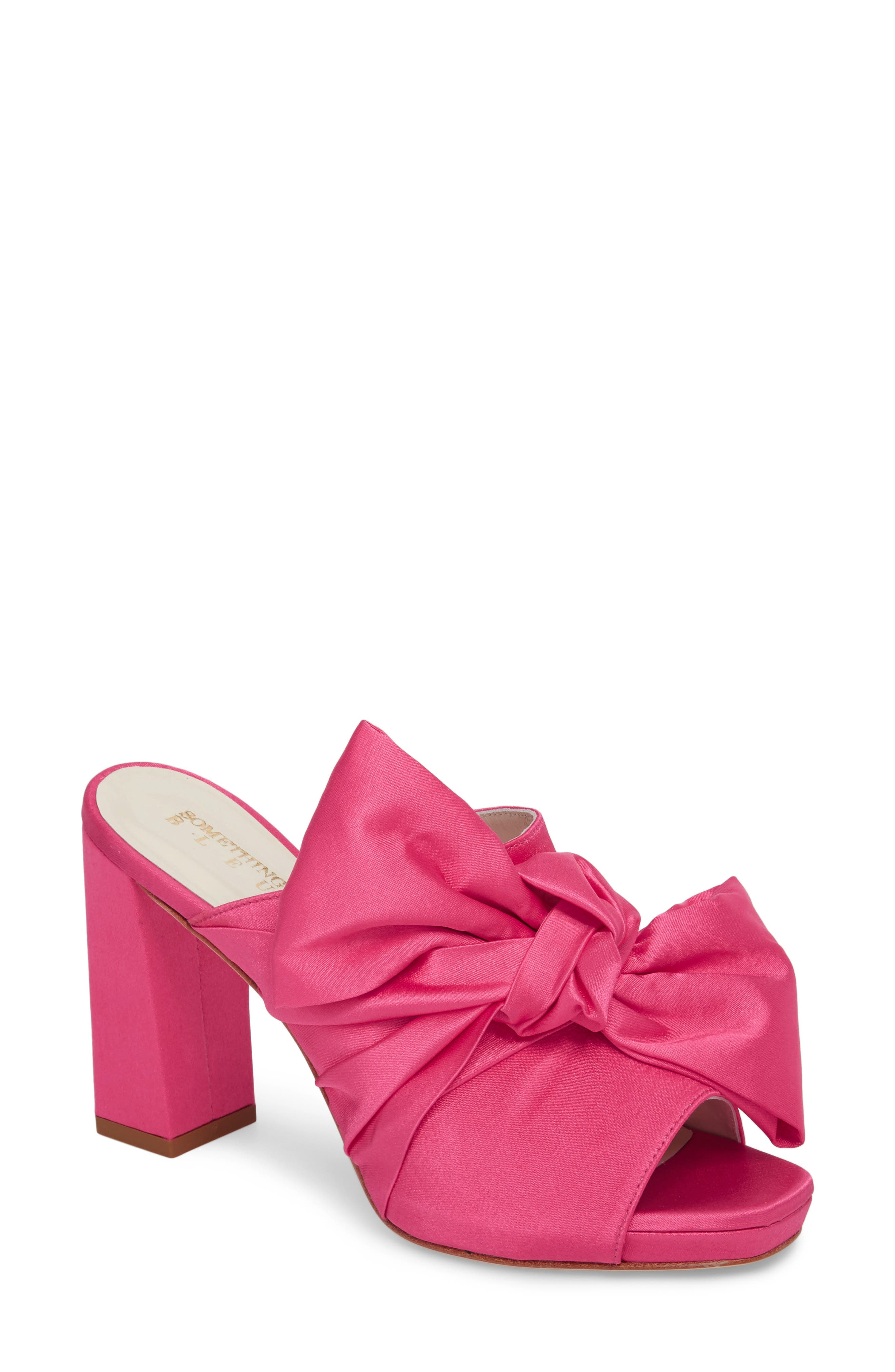 Elisa Knotted Bow Mule,                         Main,                         color, Hot Pink Satin