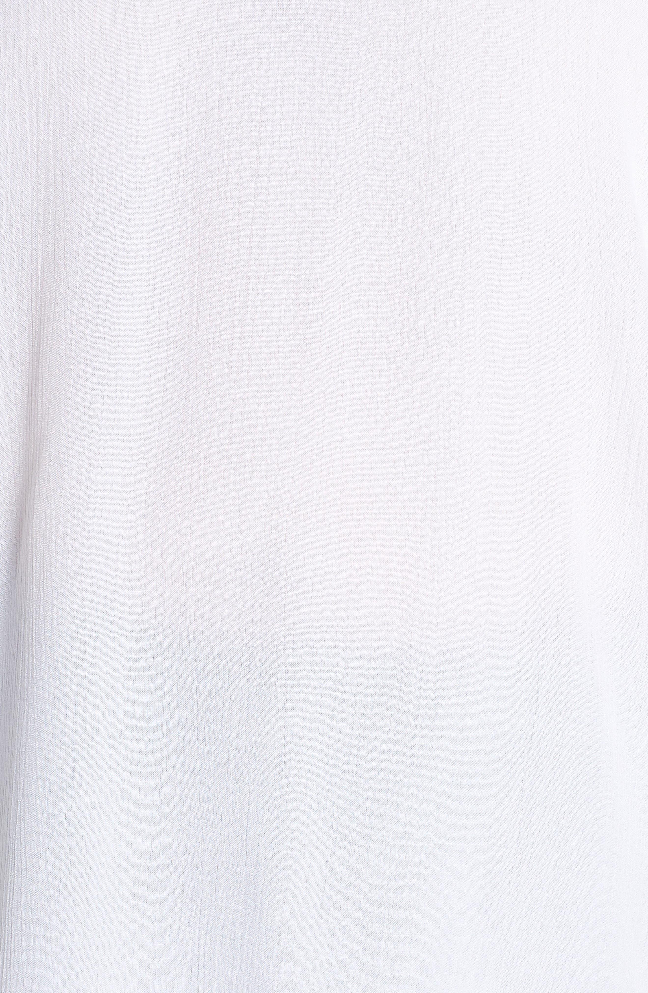 Ruffle Sleeve Crinkle Gauze Top,                             Alternate thumbnail 6, color,                             Ultra White