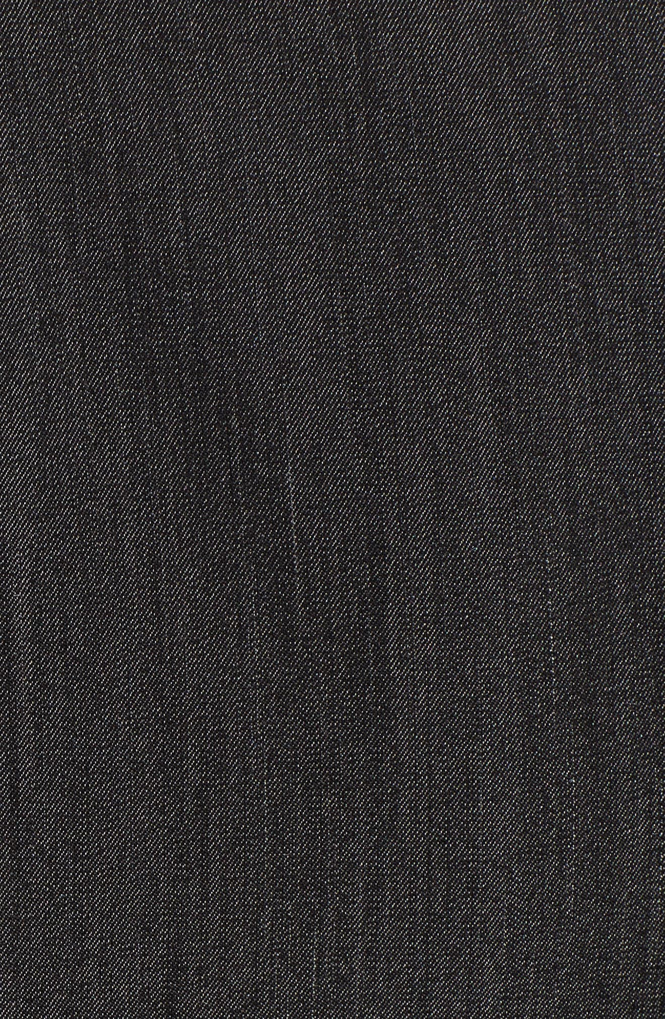 Notch Collar Stretch Denim Dress,                             Alternate thumbnail 5, color,                             Black