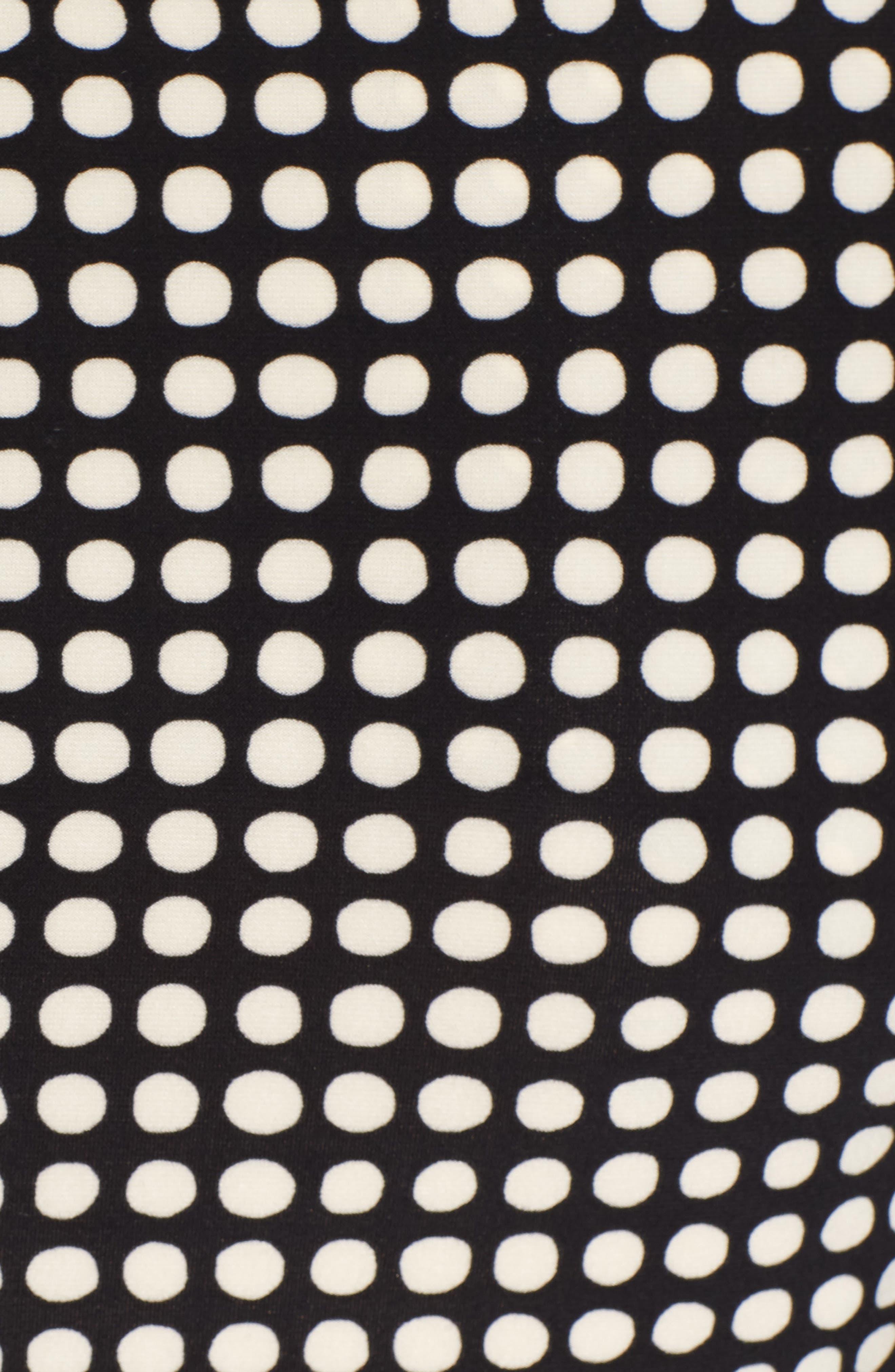 Polka Dot Faux Wrap Dress,                             Alternate thumbnail 6, color,                             Black/ Parchment