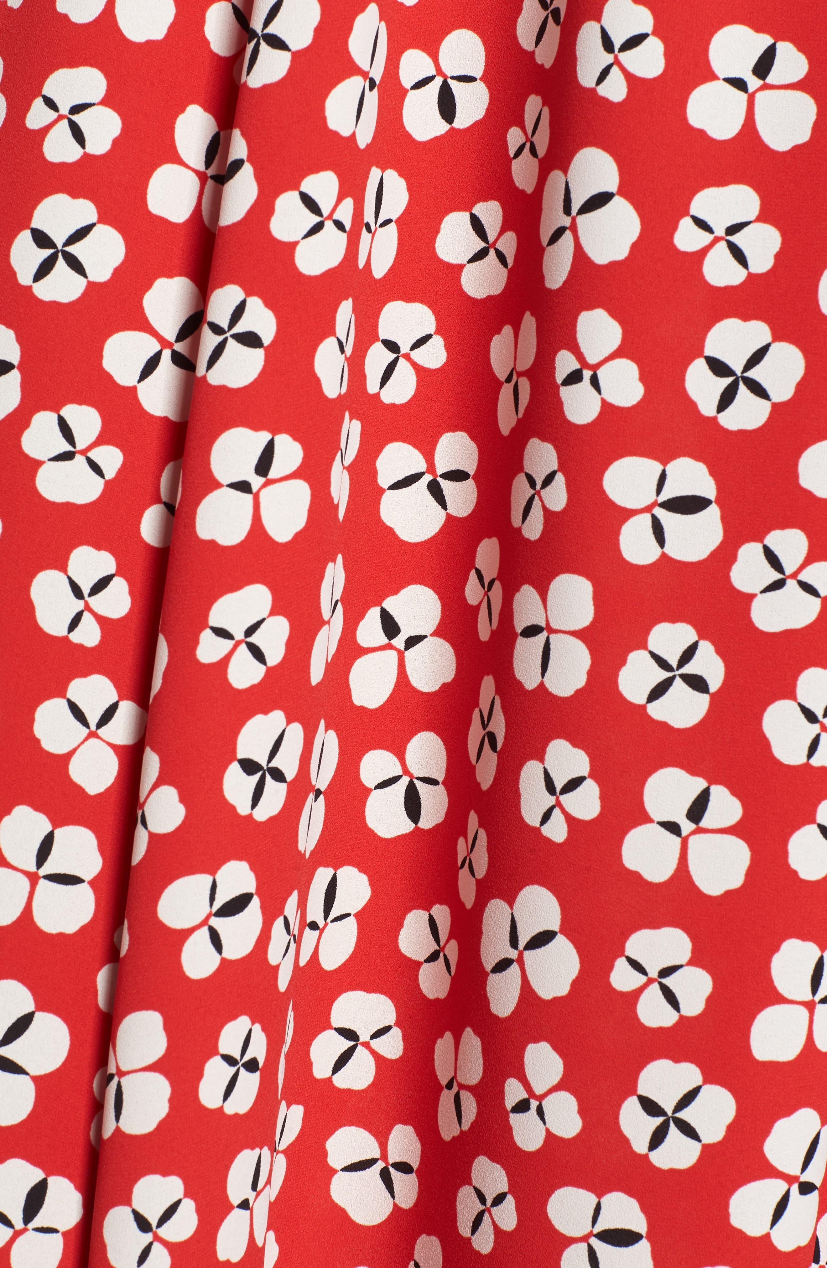 Zuma Petal Drawstring Midi Dress,                             Alternate thumbnail 6, color,                             Tomato/ Parchment Combo