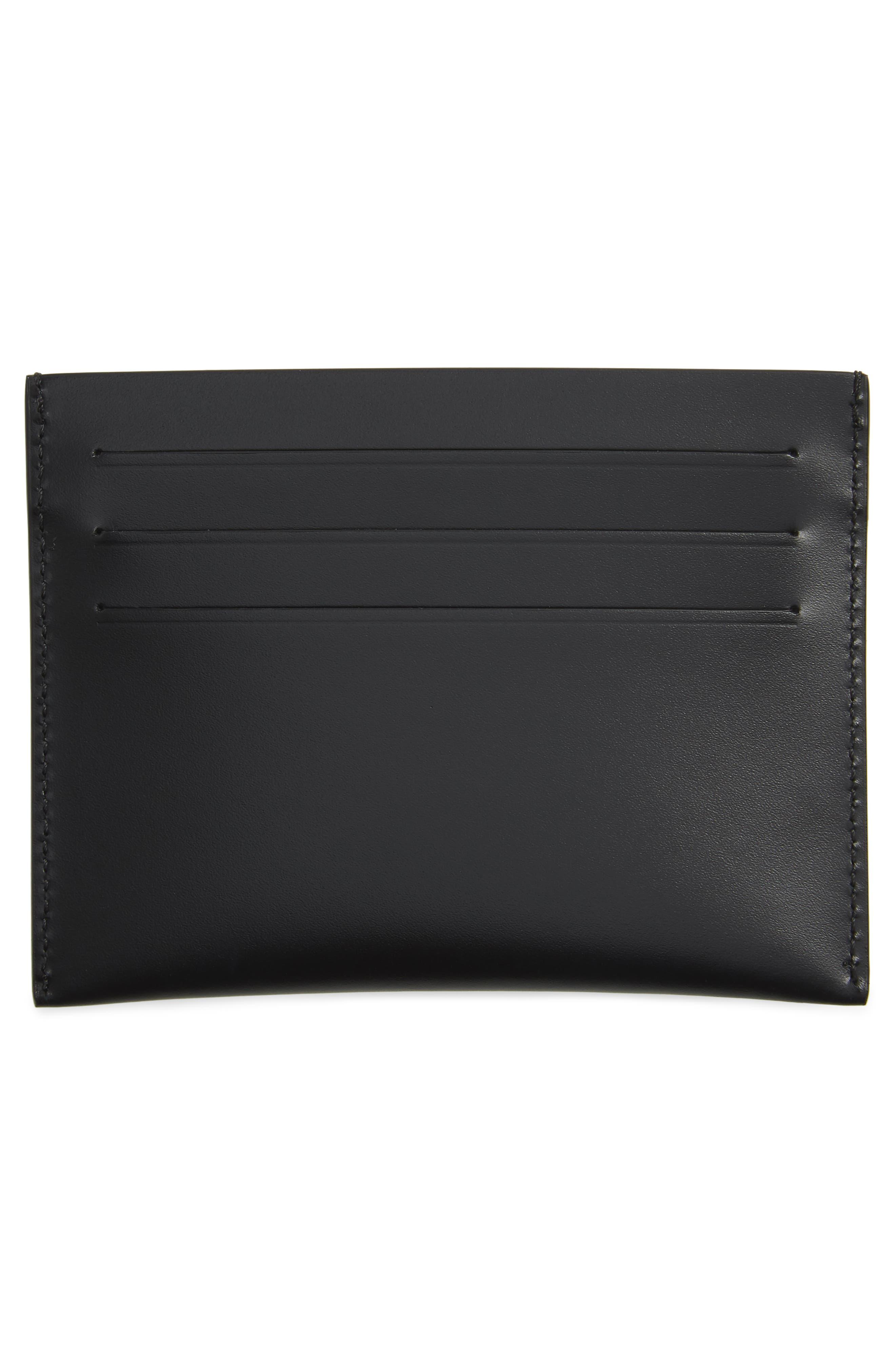 Iris Logo Print Calfskin Leather Card Case,                             Alternate thumbnail 3, color,                             Black/ Red