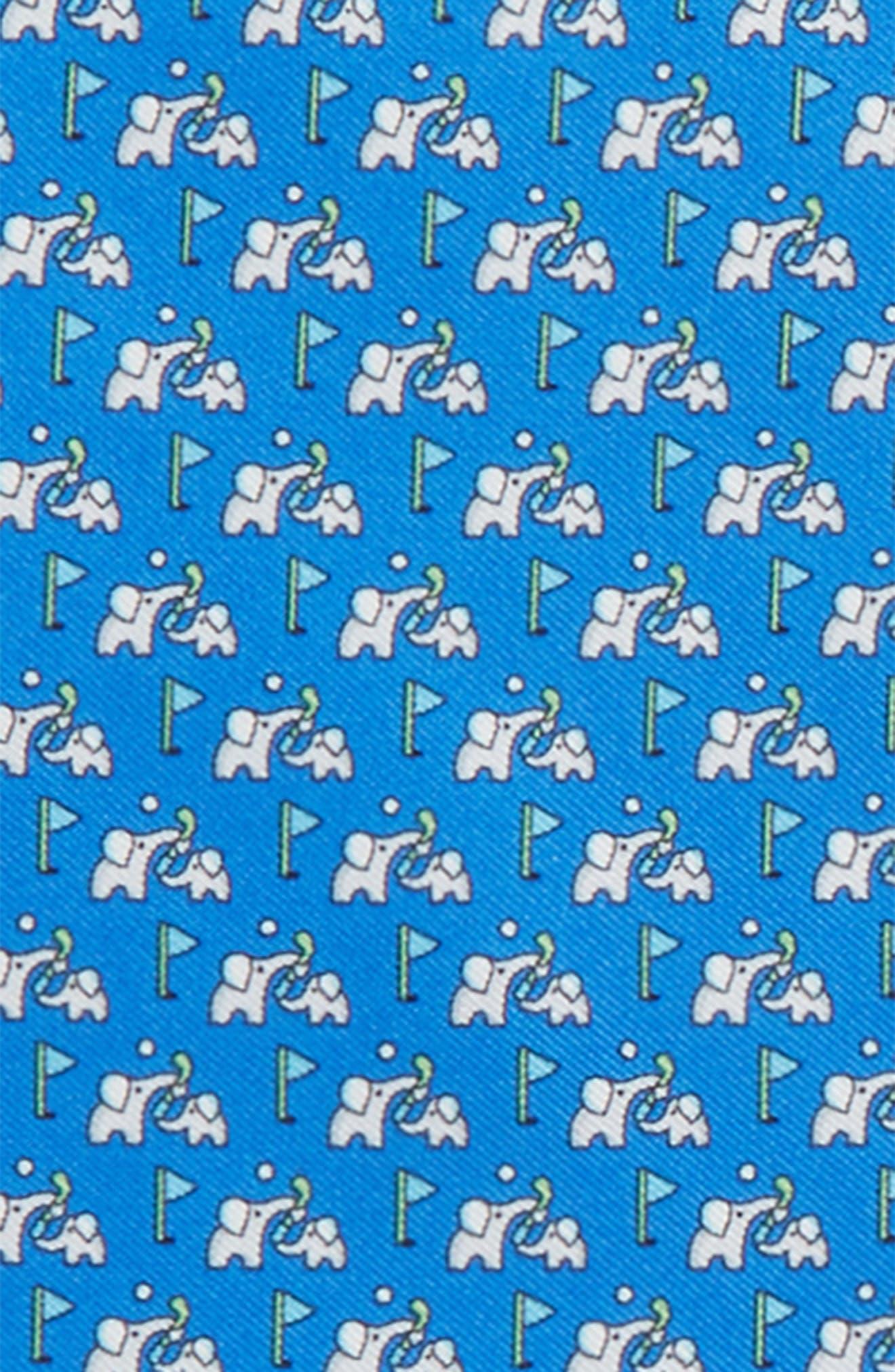 Golf Print Silk Pocket Square,                             Alternate thumbnail 2, color,                             Royal Blue