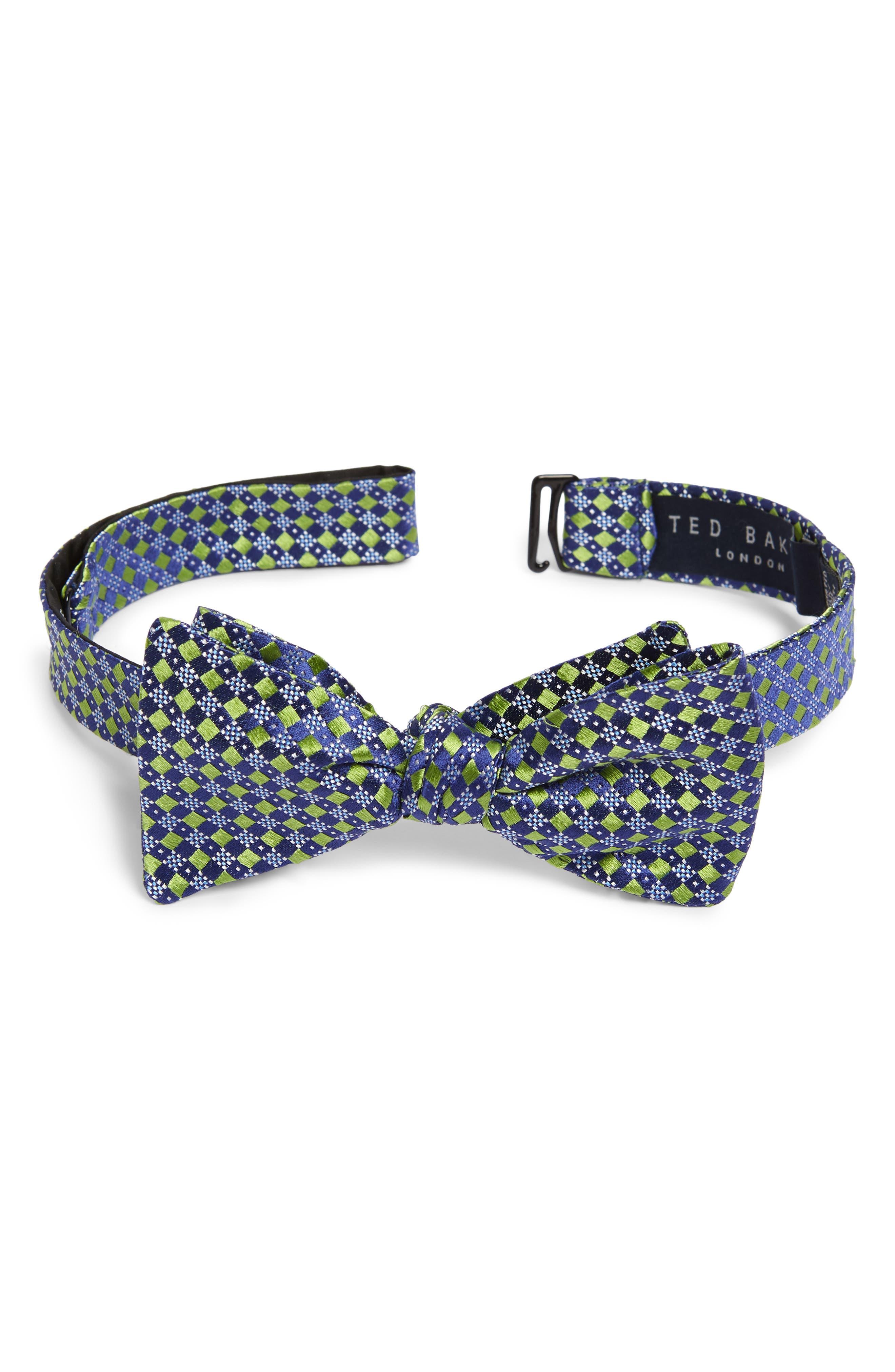 Geometric Silk Bow Tie,                             Main thumbnail 1, color,                             Green