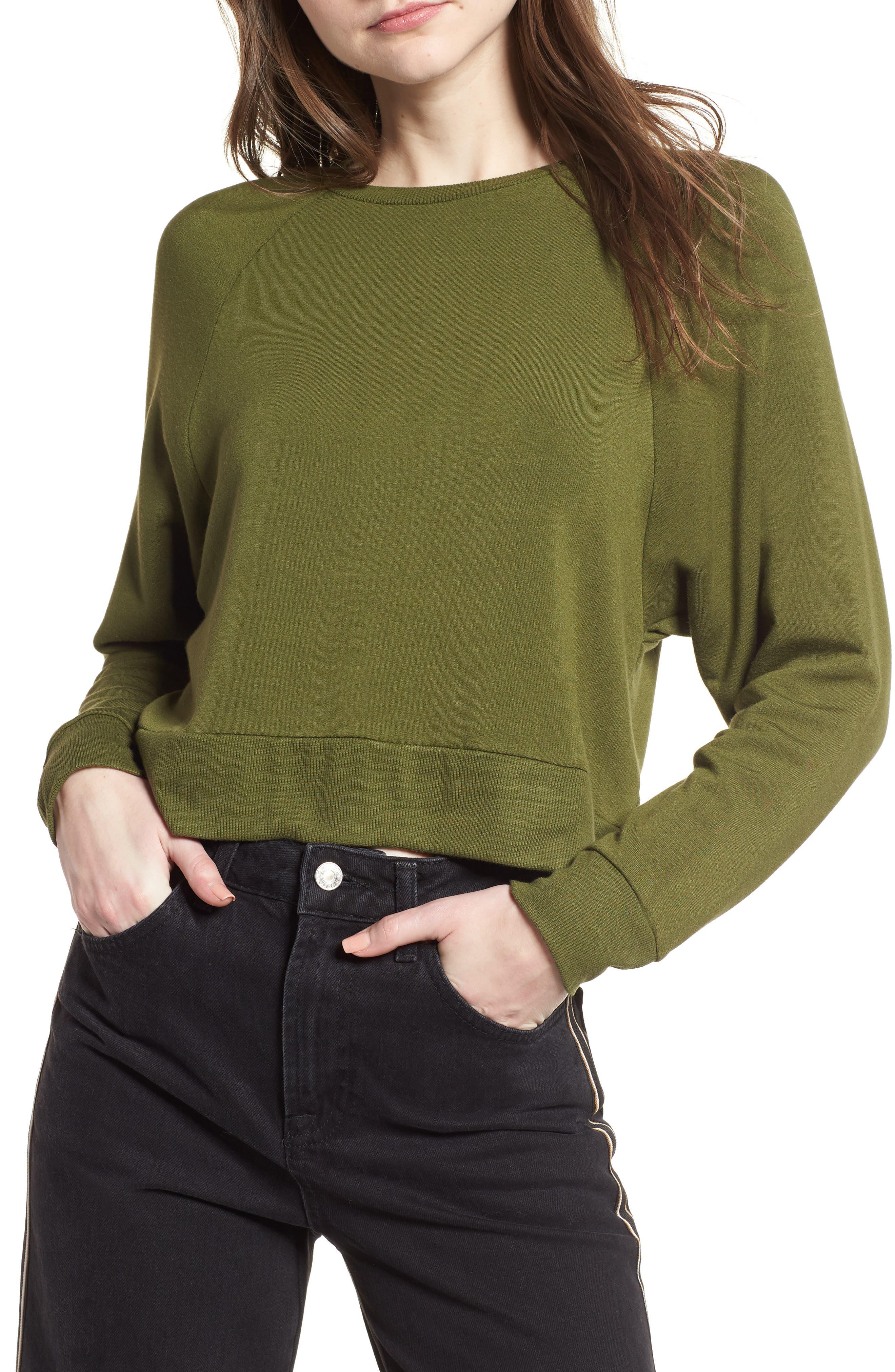 Raglan Sweatshirt,                         Main,                         color, Olive