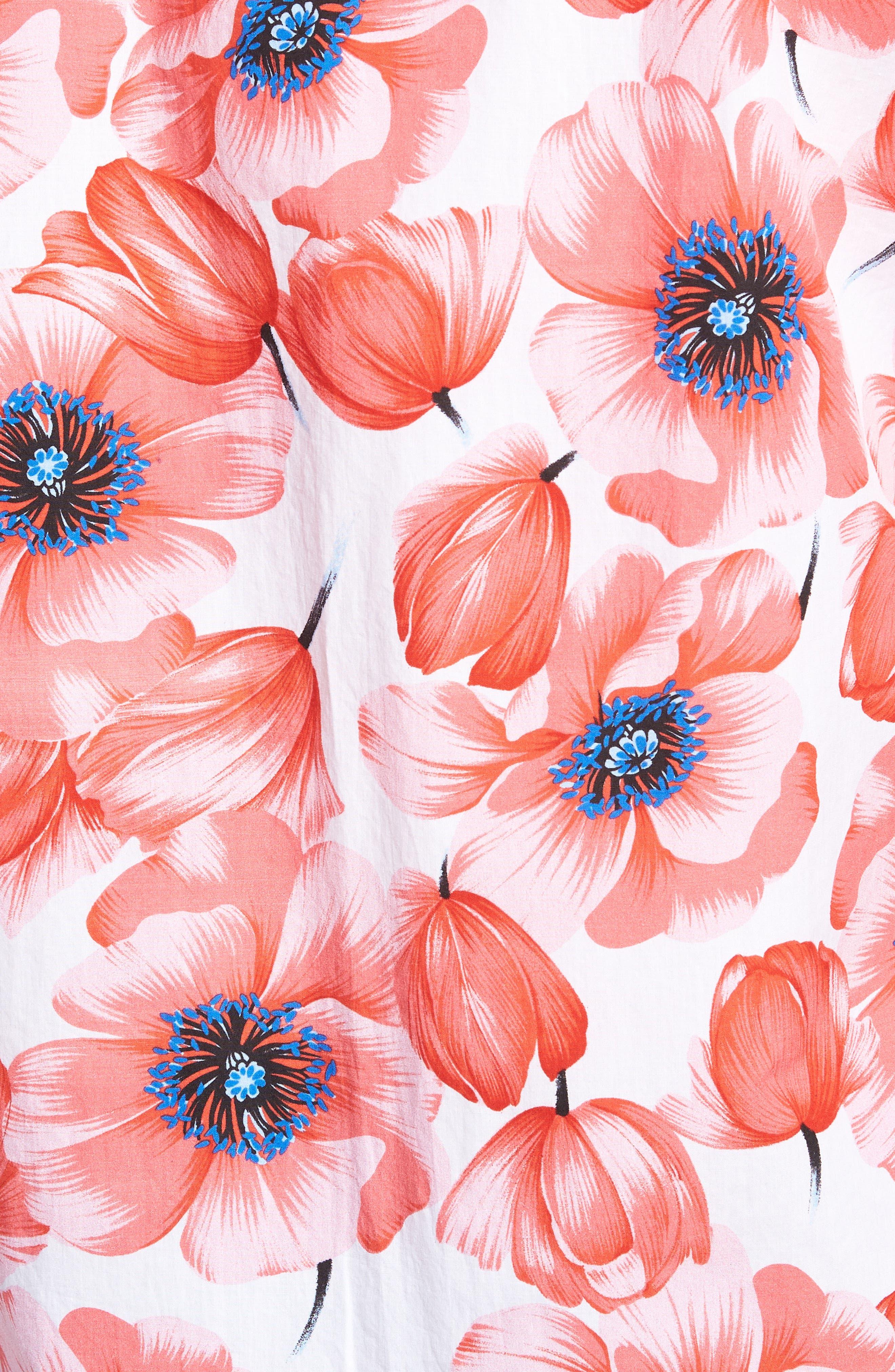 Premium Slim Fit Print Short Sleeve Sport Shirt,                             Alternate thumbnail 5, color,                             Tango Floral - Orange County
