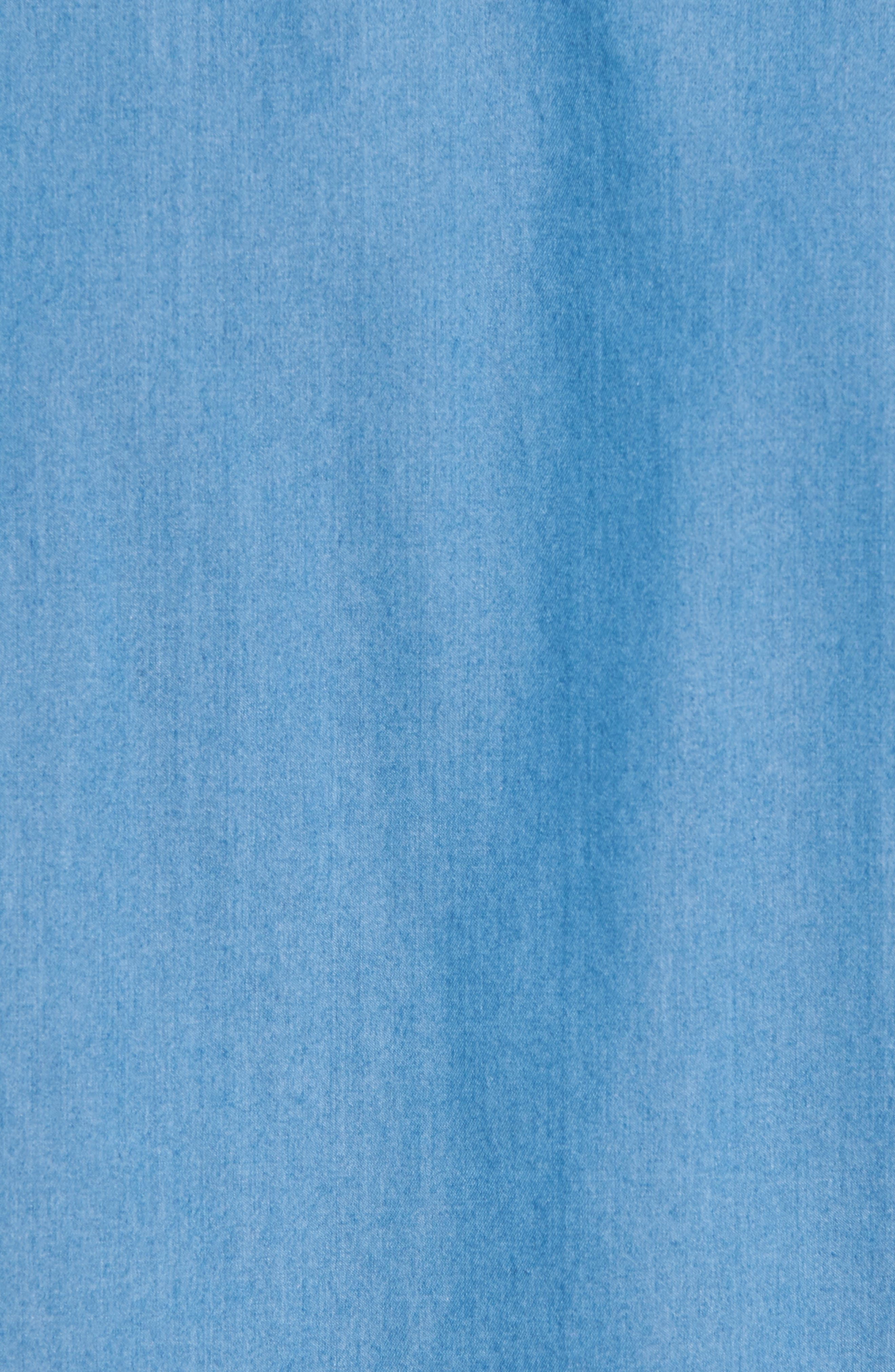 Robb Trim Fit Denim Short Sleeve Sport Shirt,                             Alternate thumbnail 5, color,                             Blue