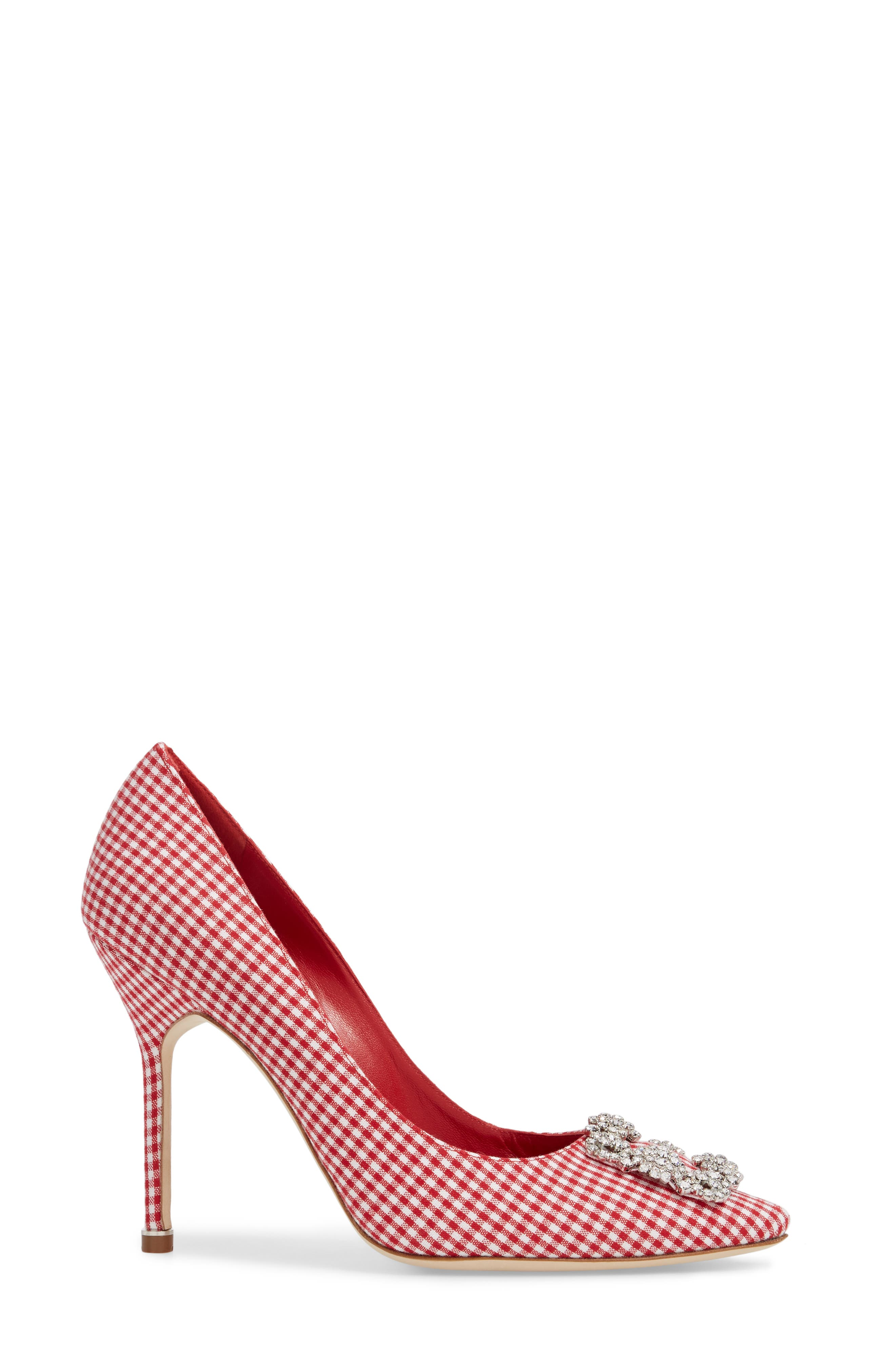 'Hangisi' Ornamented Pump,                             Alternate thumbnail 3, color,                             Red Gingham