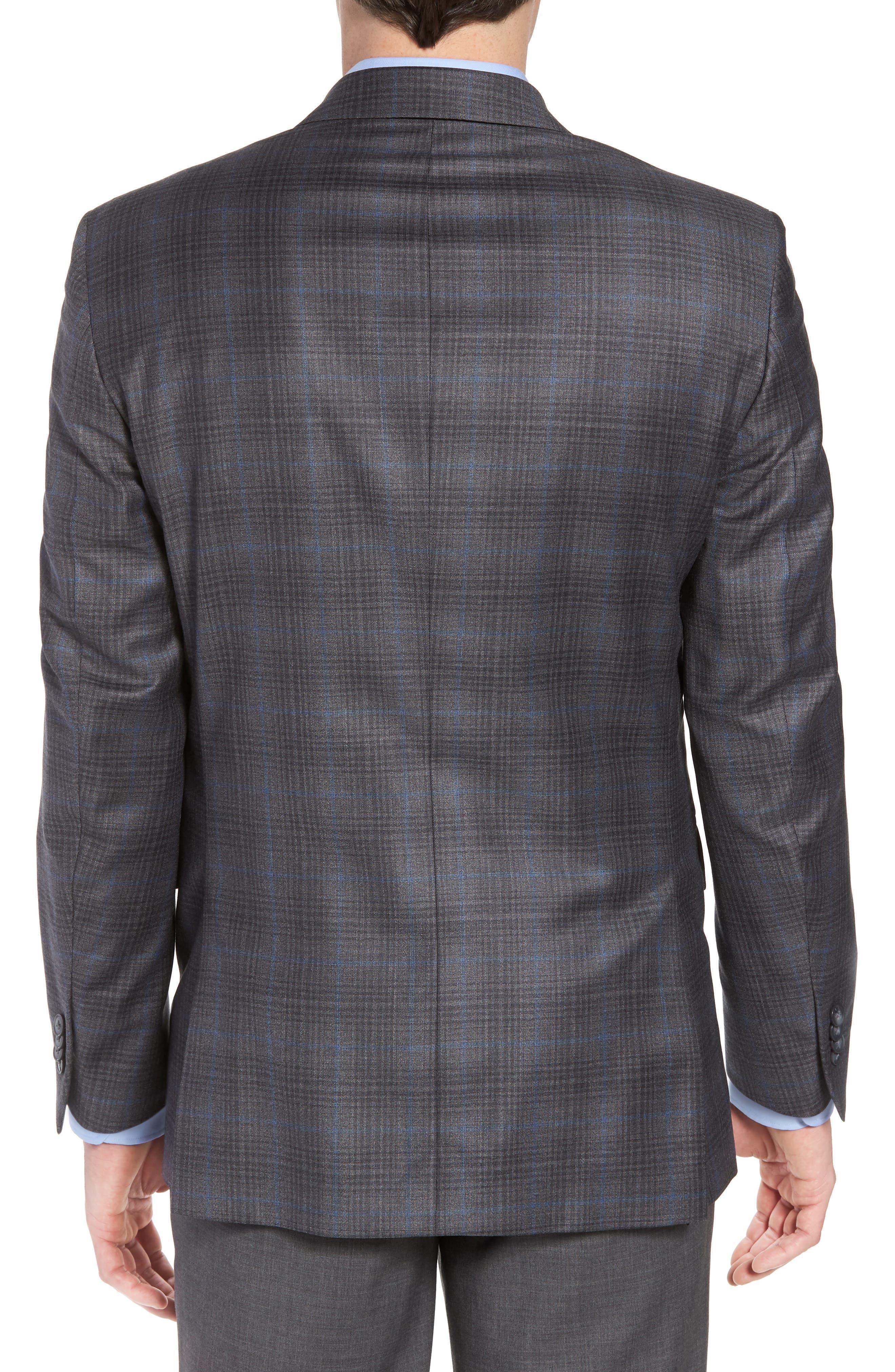 Classic Fit Plaid Wool Sport Coat,                             Alternate thumbnail 2, color,                             Grey/Blue