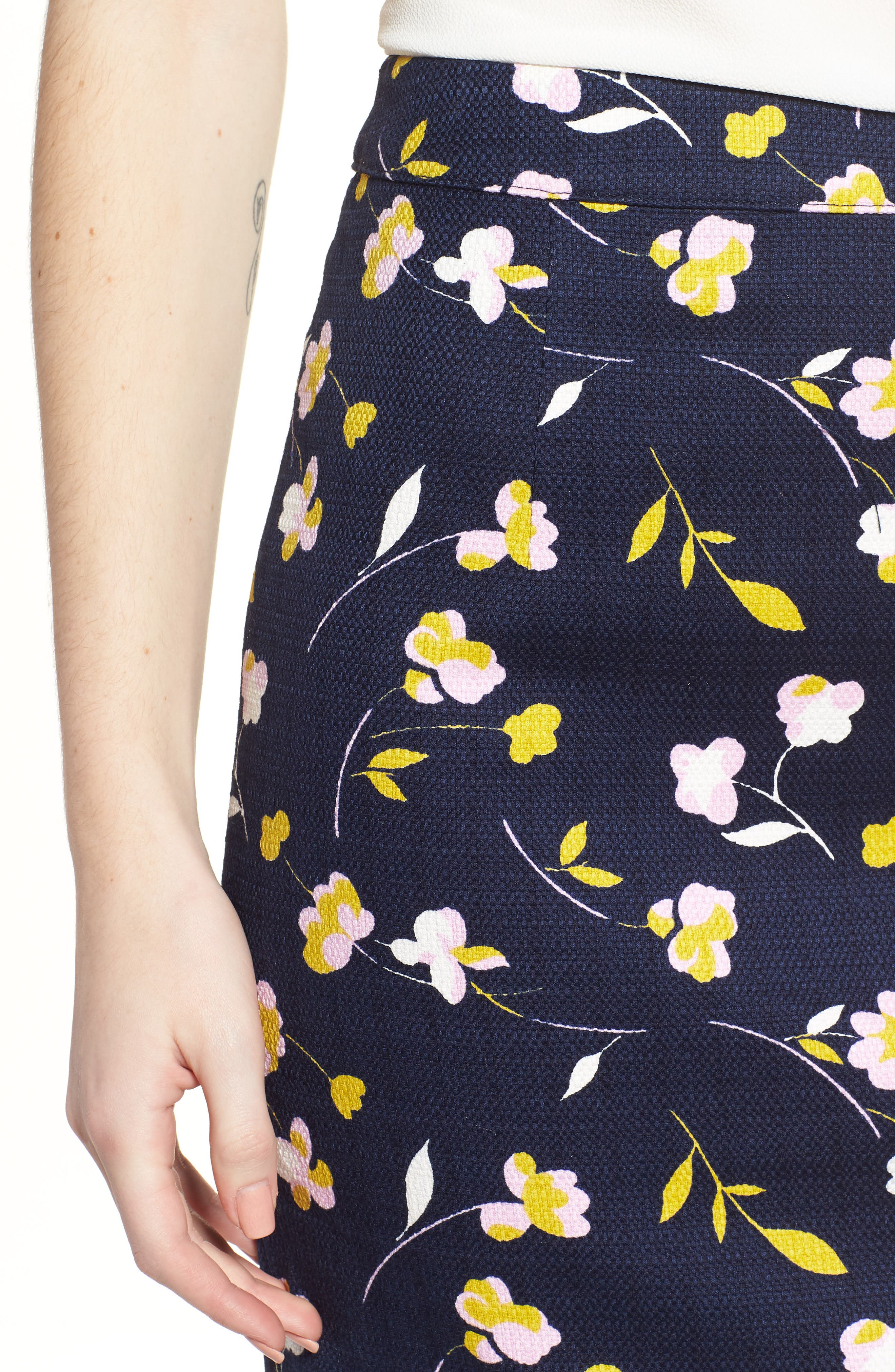 Martha Floral Pencil Skirt,                             Alternate thumbnail 4, color,                             Rosebay/ Wildflower