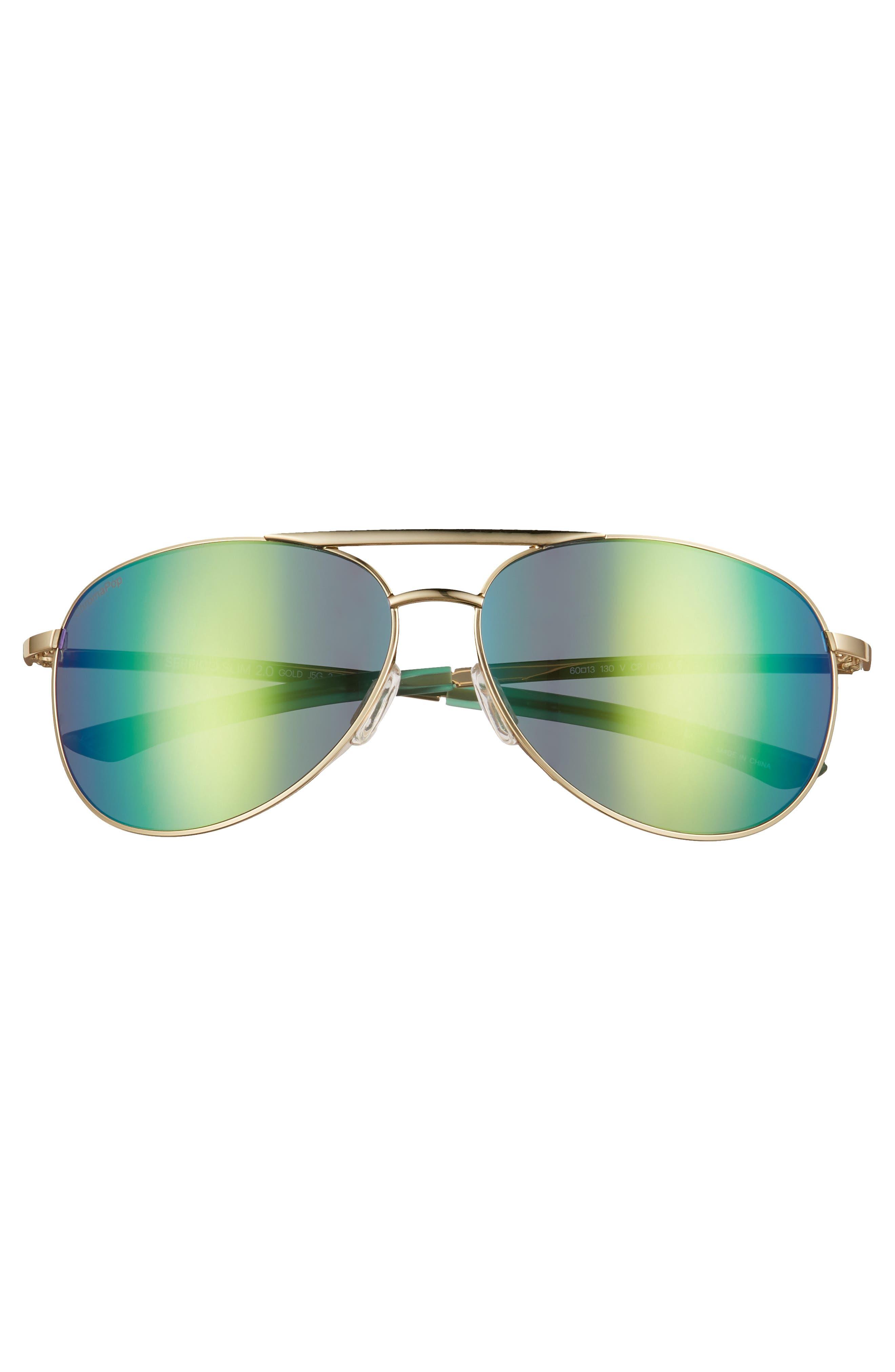 Serpico Slim 2.0 60mm ChromaPop Polarized Aviator Sunglasses,                             Alternate thumbnail 3, color,                             Gold/ Green Mirror