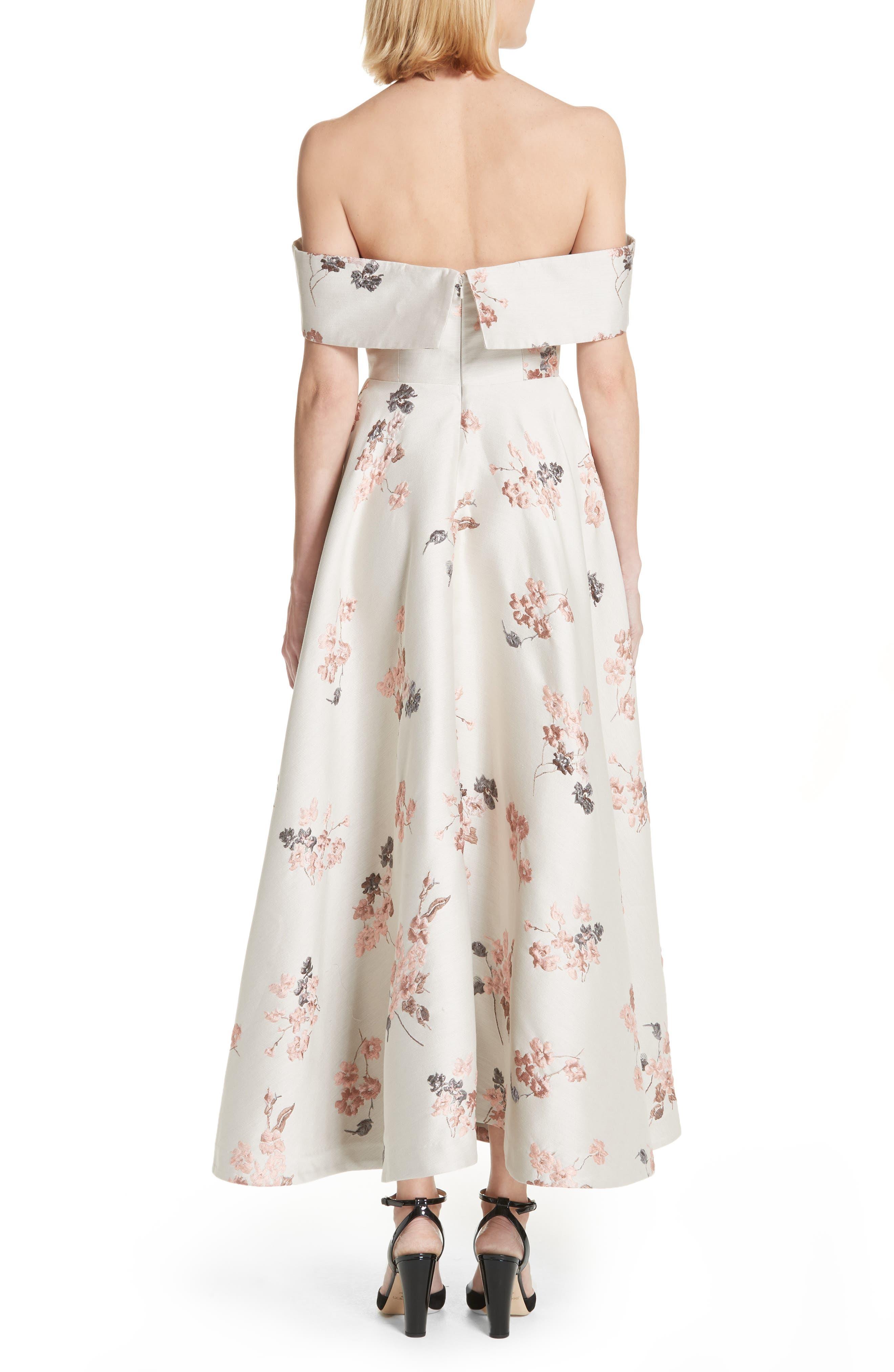Metallic Floral Jacquard Off the Shoulder Dress,                             Alternate thumbnail 3, color,                             Beige/ Pink
