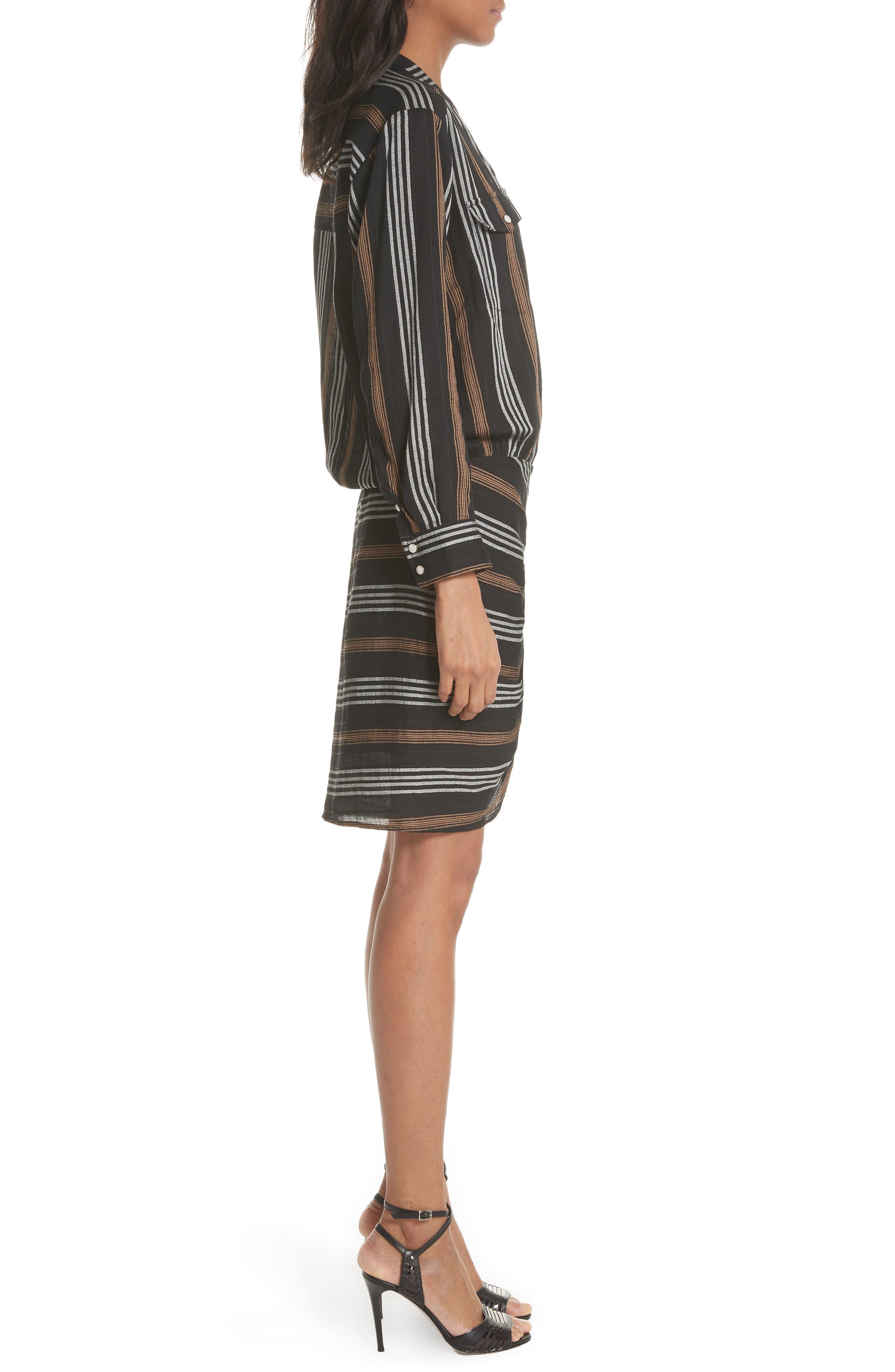 Emory Stripe Shirtdress,                             Alternate thumbnail 3, color,                             Black Multi