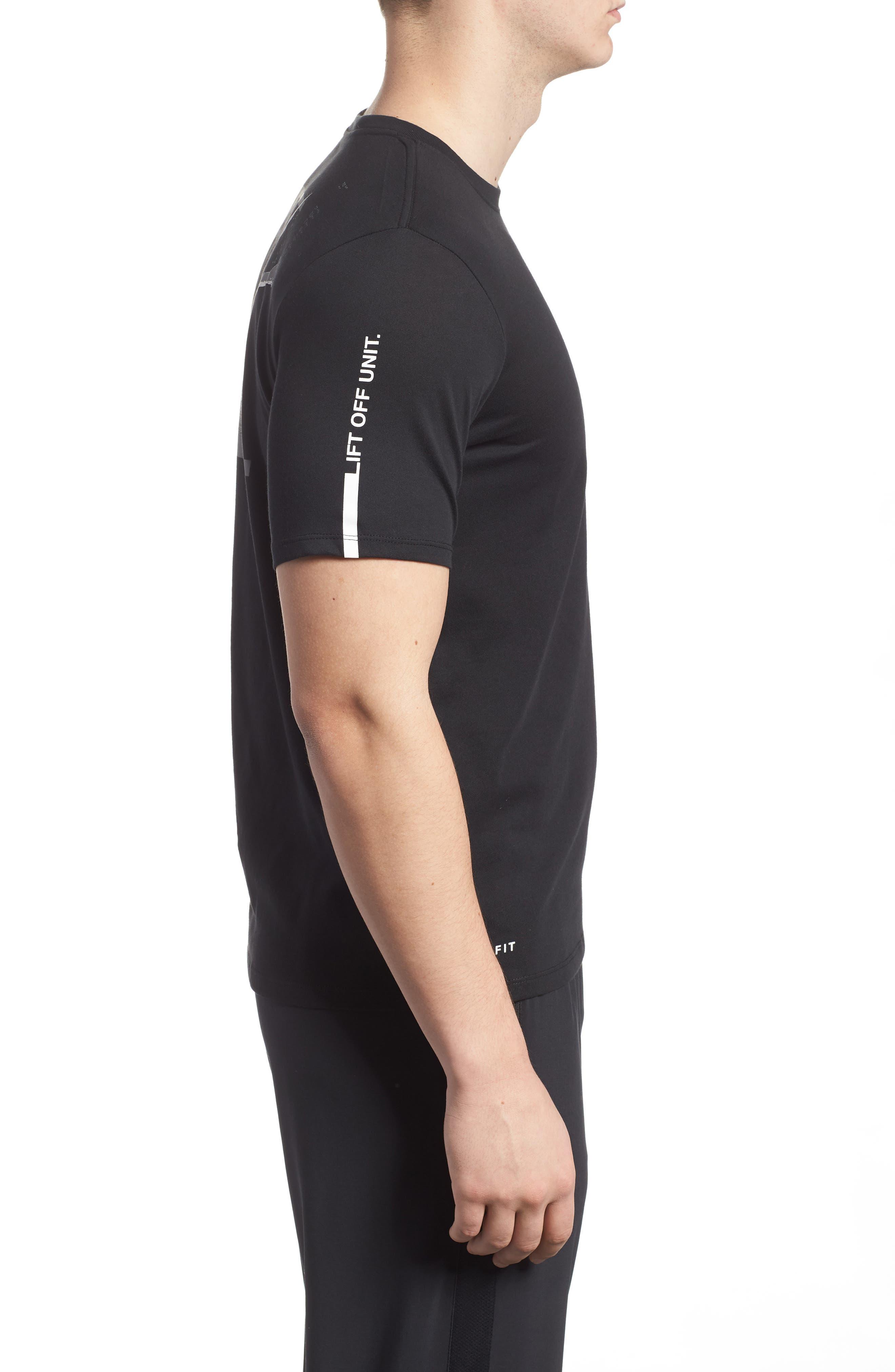 Dry Unit T-Shirt,                             Alternate thumbnail 3, color,                             Black/ Black