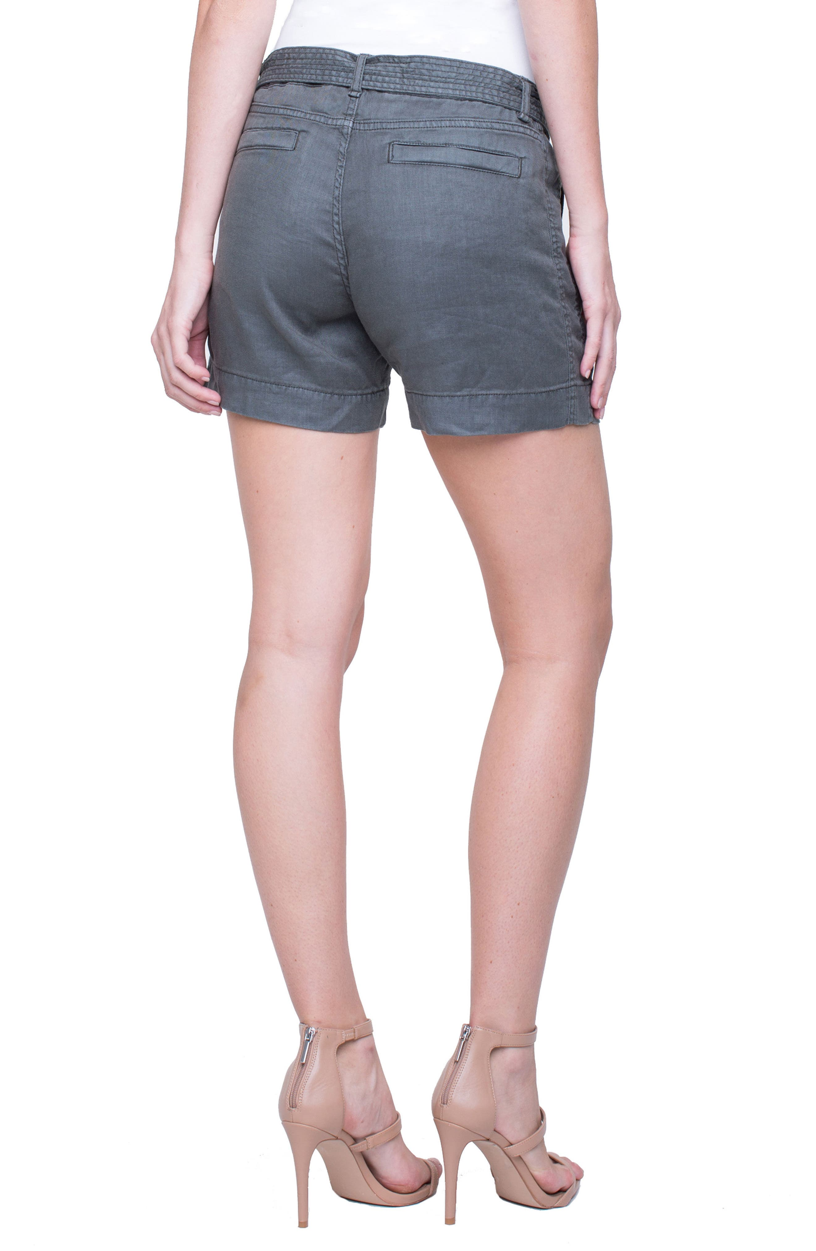 Kinley Stretch Linen Shorts,                             Alternate thumbnail 2, color,                             Fennel Green