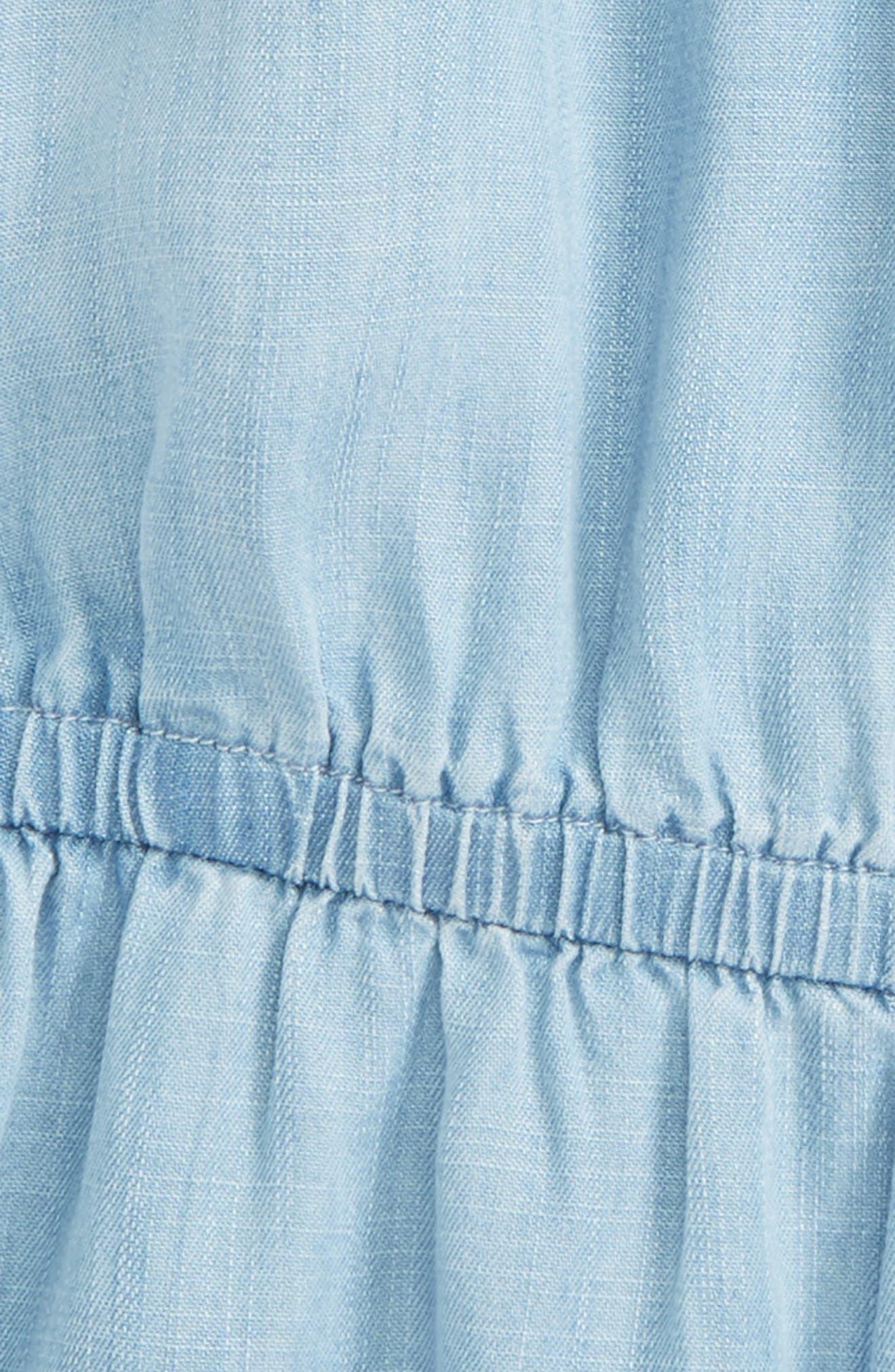 Flutter Sleeve Romper,                             Alternate thumbnail 2, color,                             Blue Wash