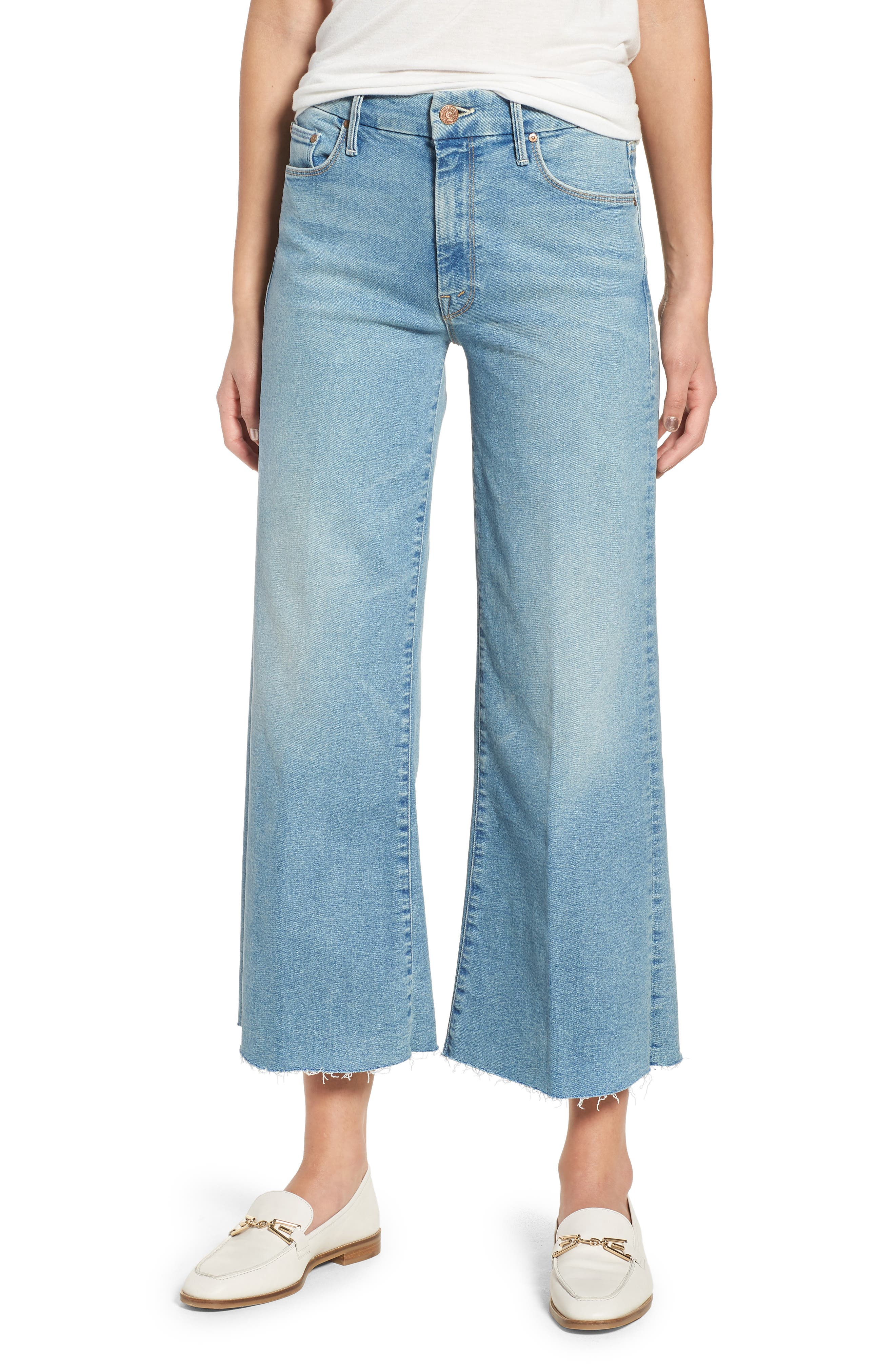 MOTHER The Roller Crop Fray Wide Leg Jeans (Ready to Roll)