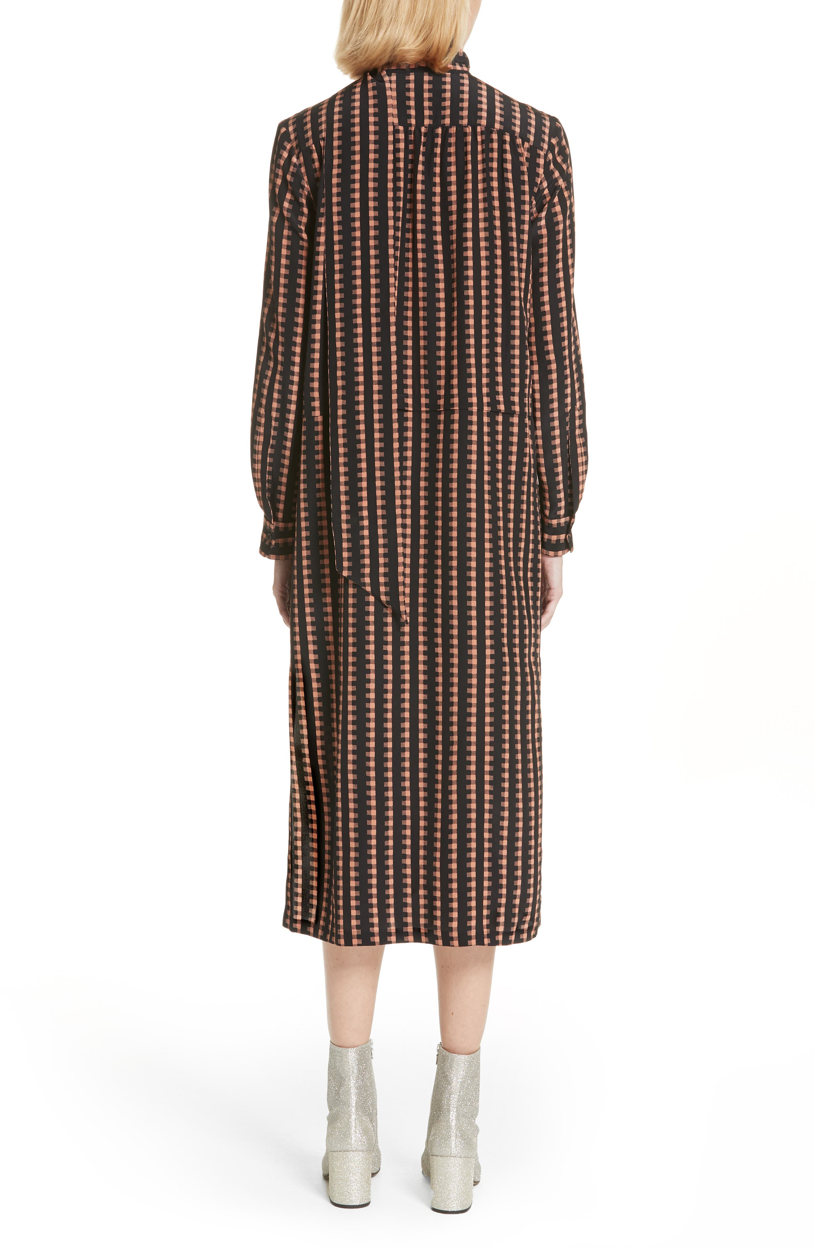 Gingham Stripe Silk Dress,                             Alternate thumbnail 2, color,                             Black