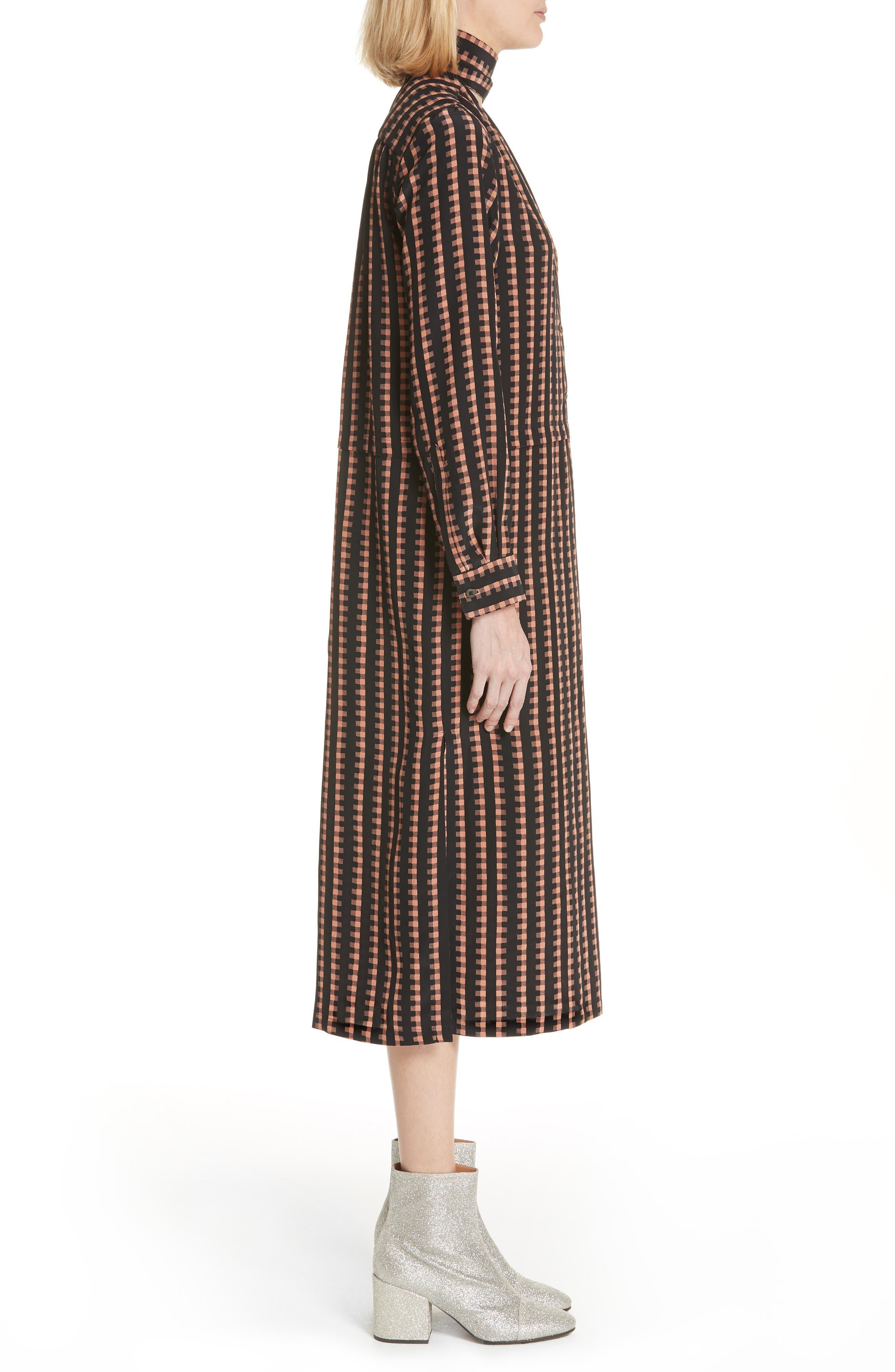 Gingham Stripe Silk Dress,                             Alternate thumbnail 3, color,                             Black