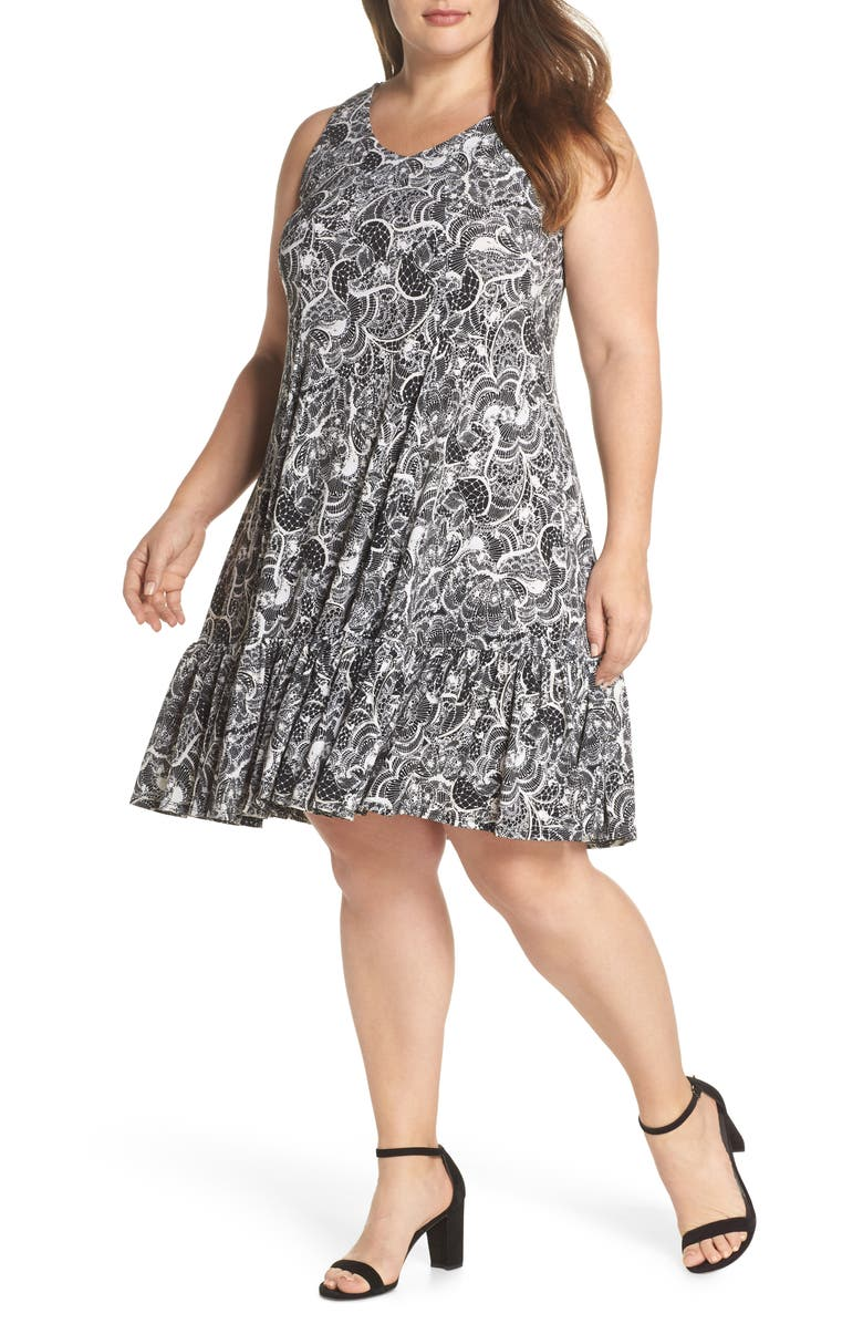 Crochet Back Lace Print Dress