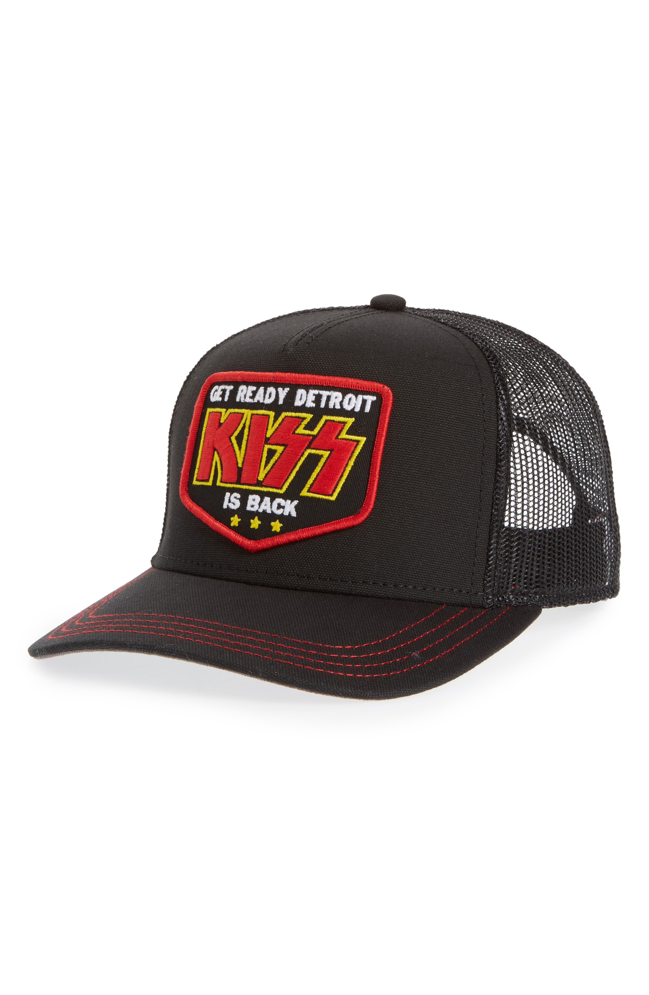 Valin KISS Trucker Hat,                         Main,                         color, Black