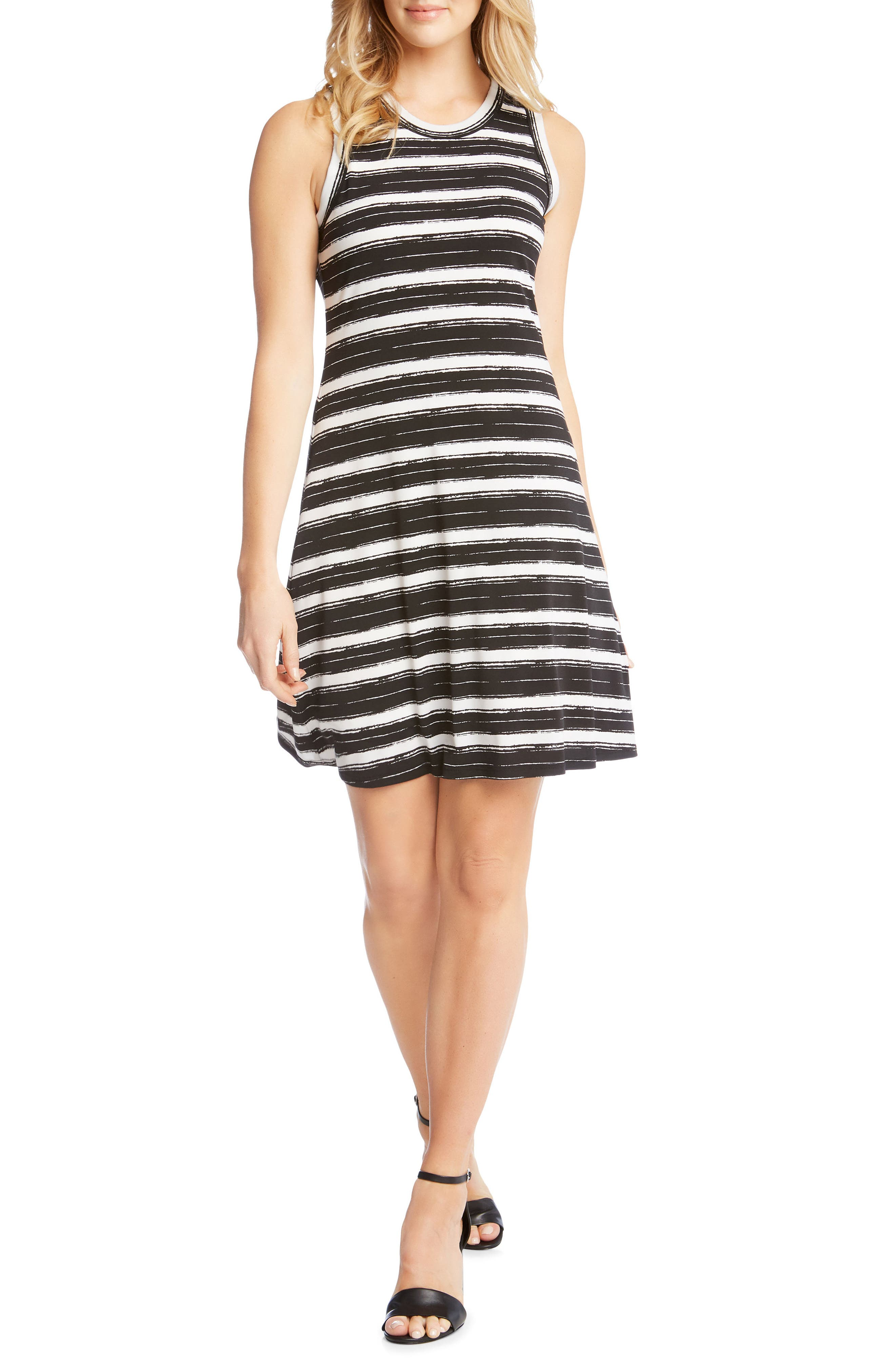 Stripe Fit and Flare Dress,                             Main thumbnail 1, color,                             Stripe
