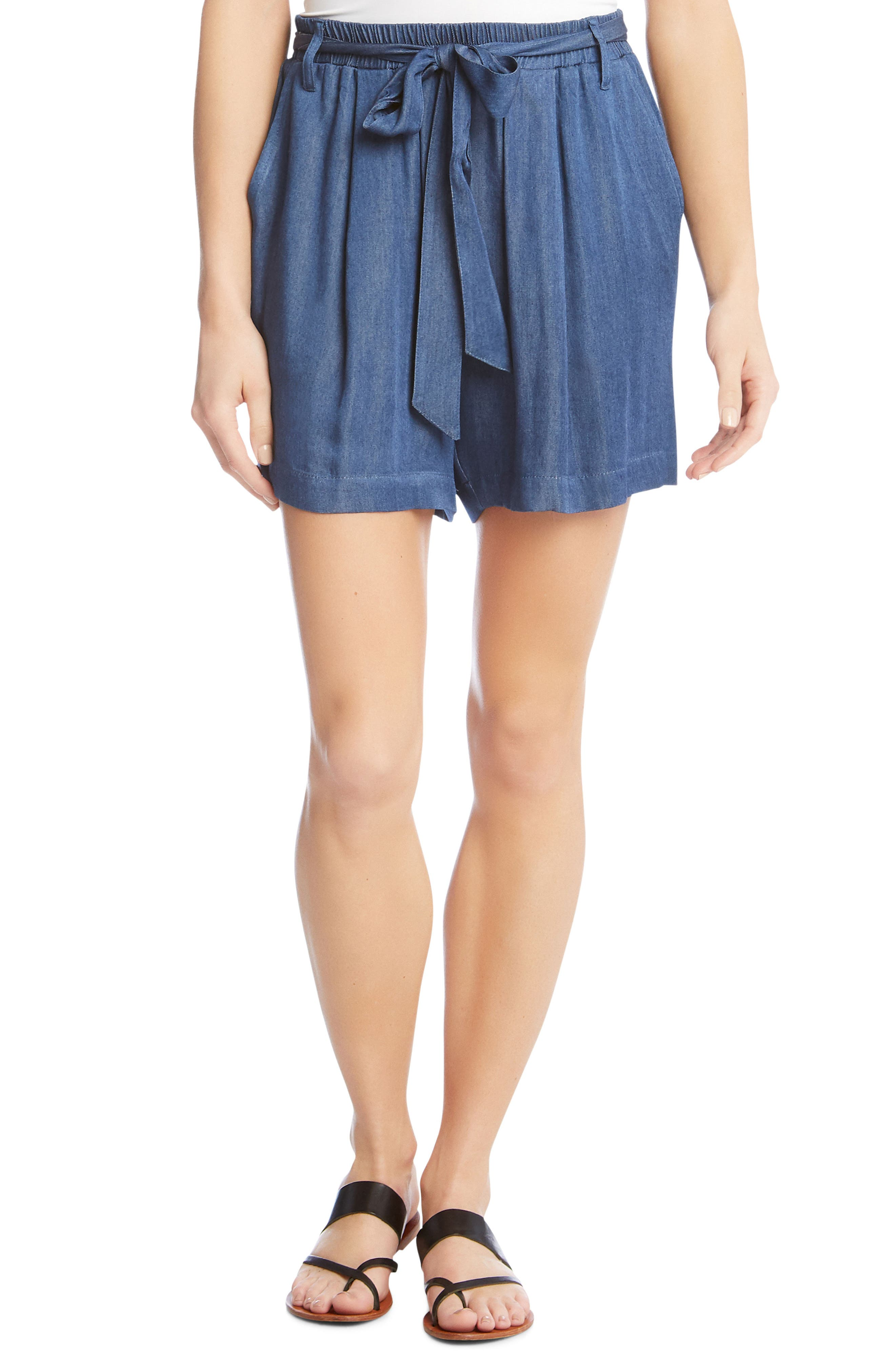 Belted Chambray Shorts,                         Main,                         color, Deep Blue
